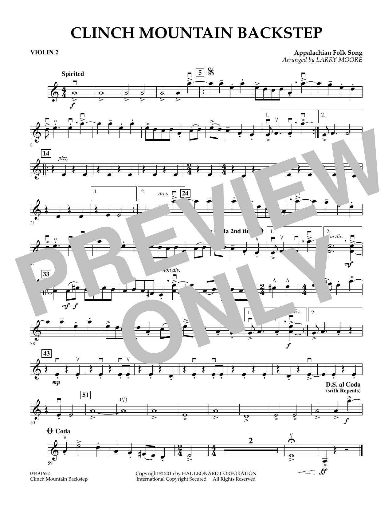 Clinch Mountain Backstep - Violin 2 (Orchestra)