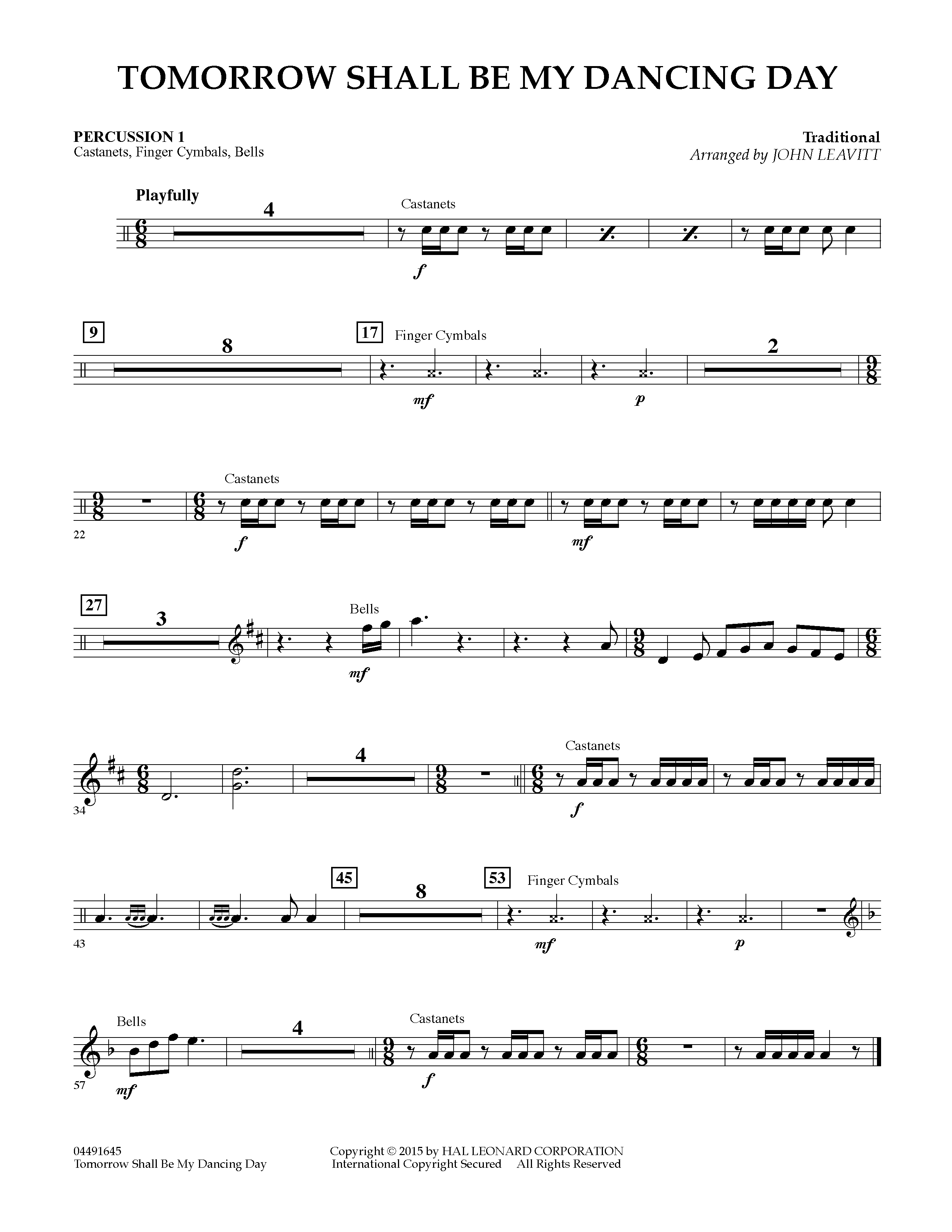 Tomorrow Shall Be My Dancing Day - Percussion 1 (Orchestra)
