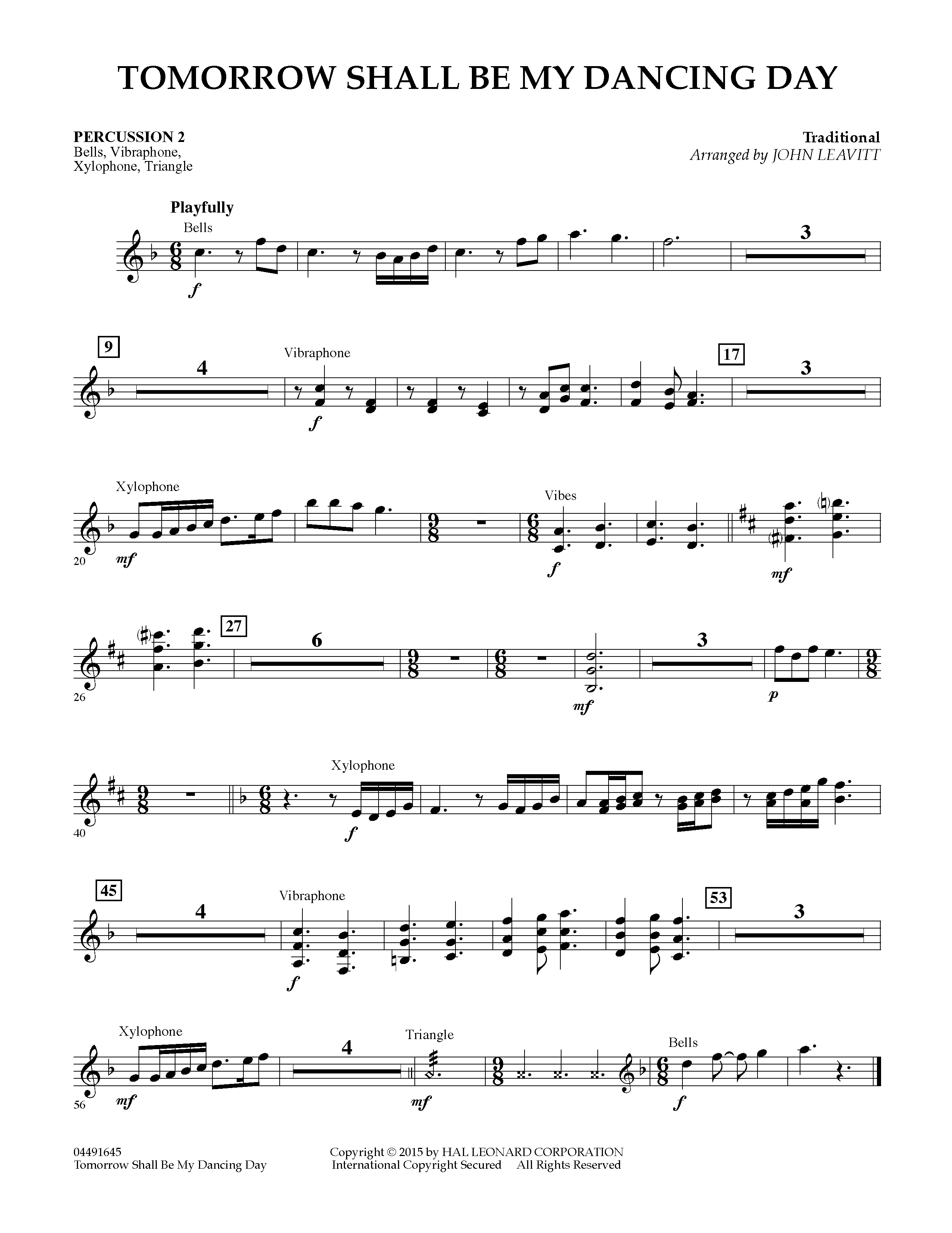 Tomorrow Shall Be My Dancing Day - Percussion 2 (Orchestra)