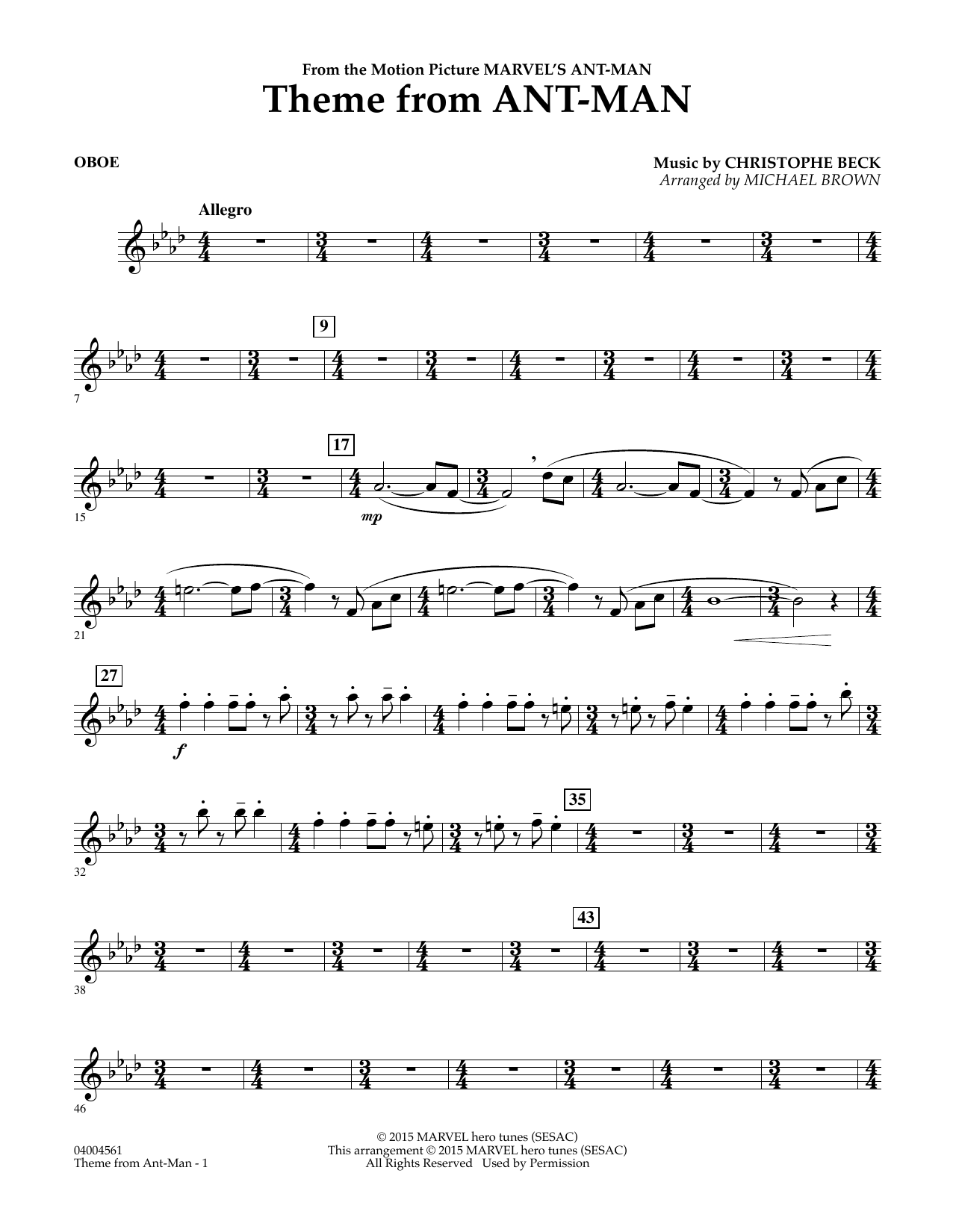 Theme from Ant-Man - Oboe (Concert Band)