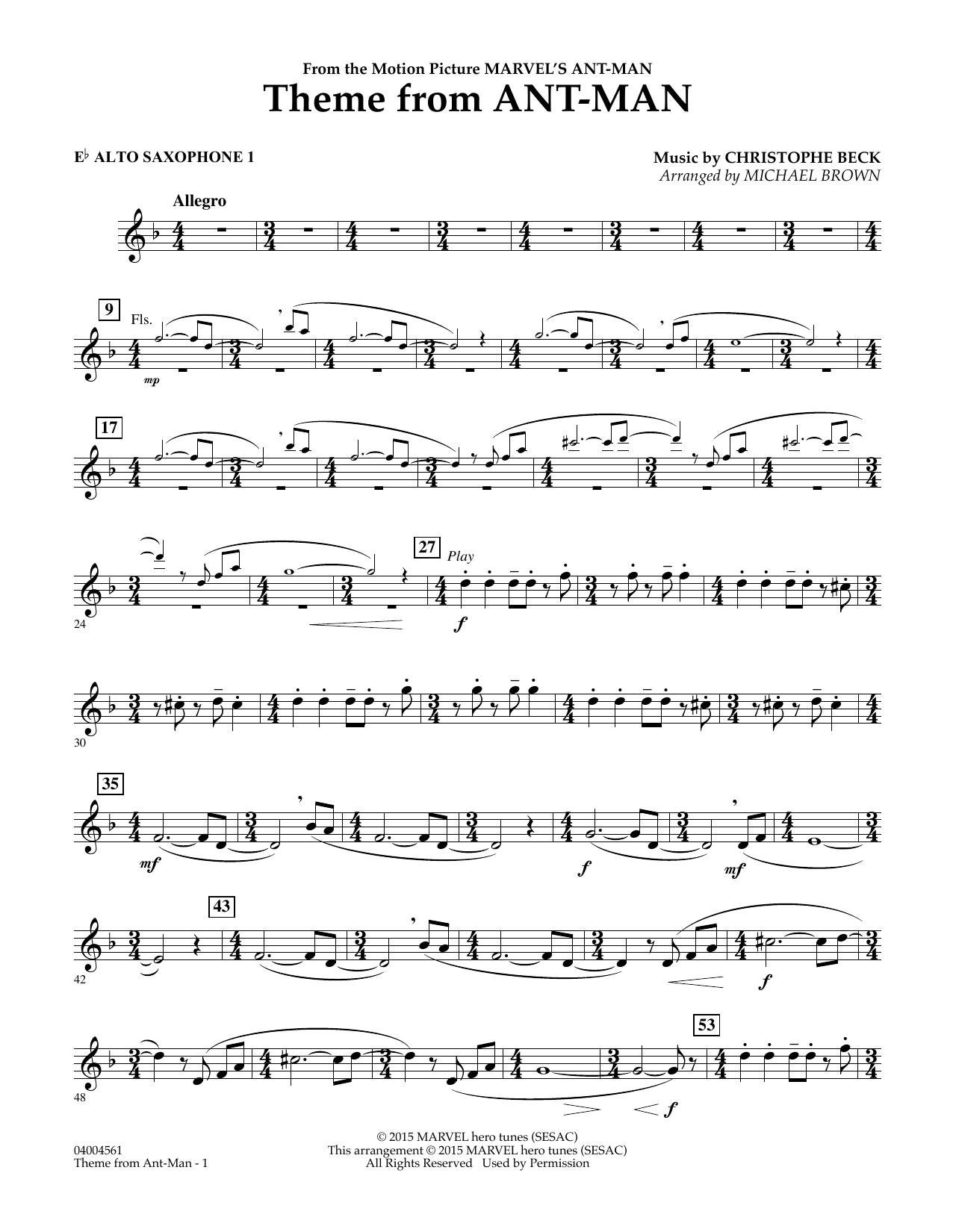 Theme from Ant-Man - Eb Alto Saxophone 1 (Concert Band)