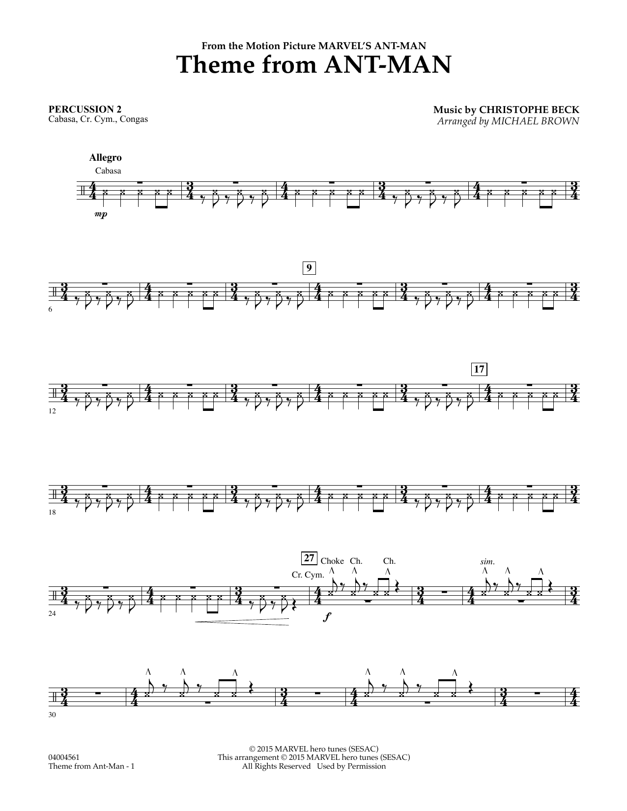 Theme from Ant-Man - Percussion 2 (Concert Band)
