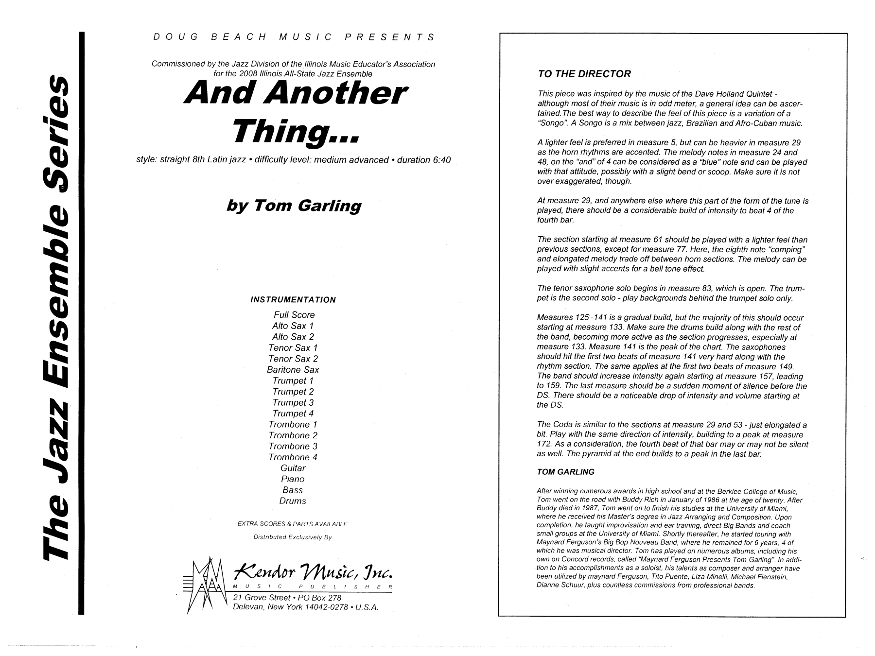 And Another Thing (COMPLETE) sheet music for jazz band by Tom Garling. Score Image Preview.