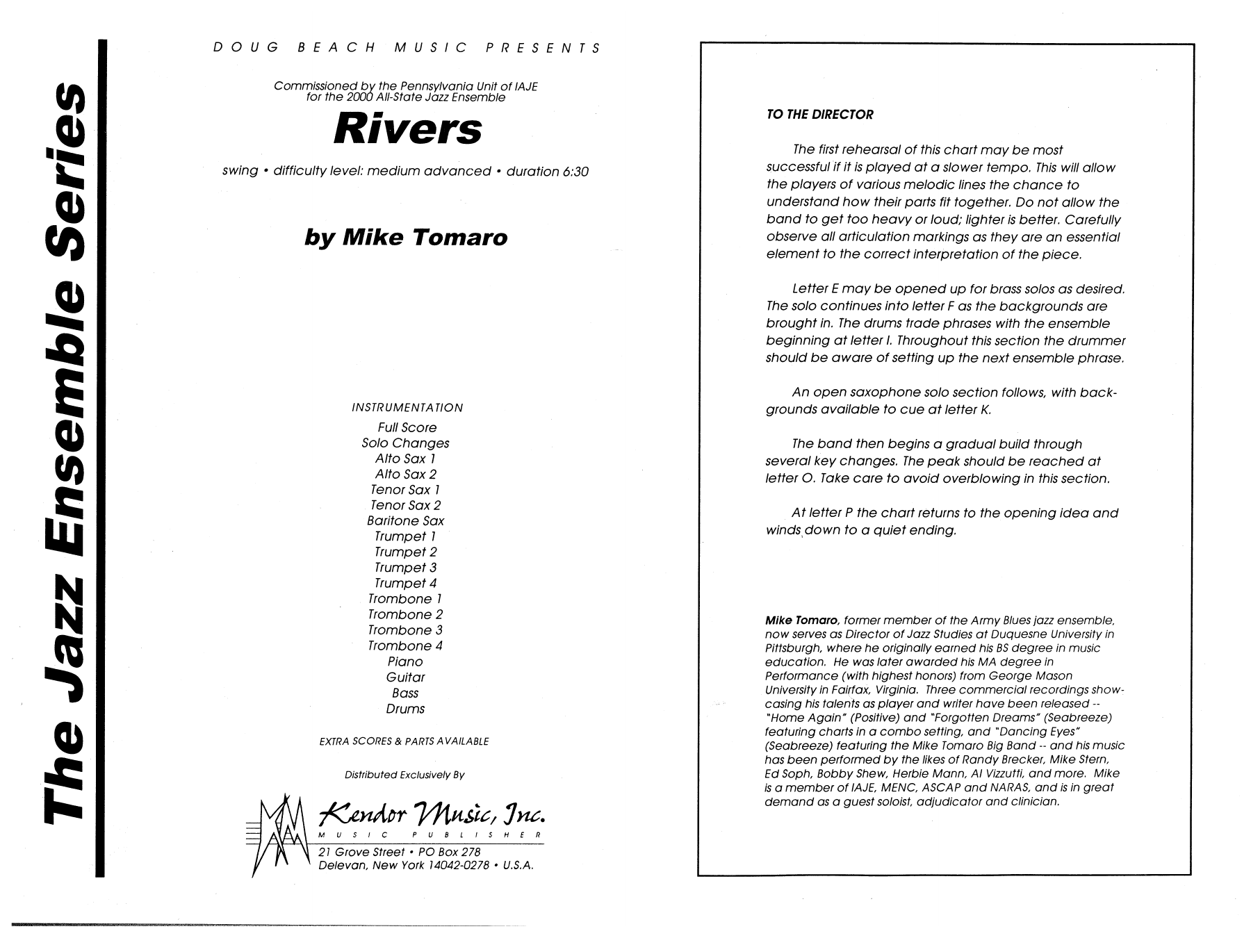 Rivers (COMPLETE) sheet music for jazz band by Mike Tomaro. Score Image Preview.