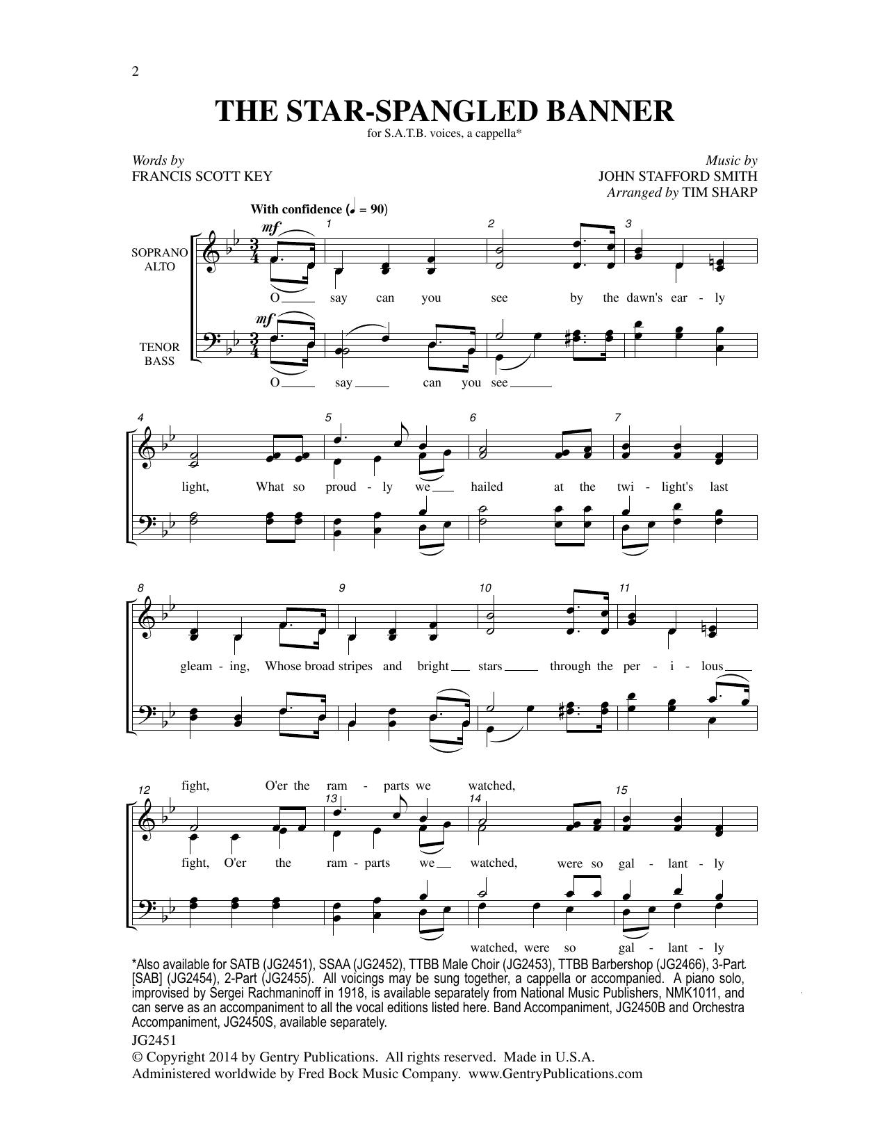 The Star Spangled Banner Satb Tim Sharp Choral