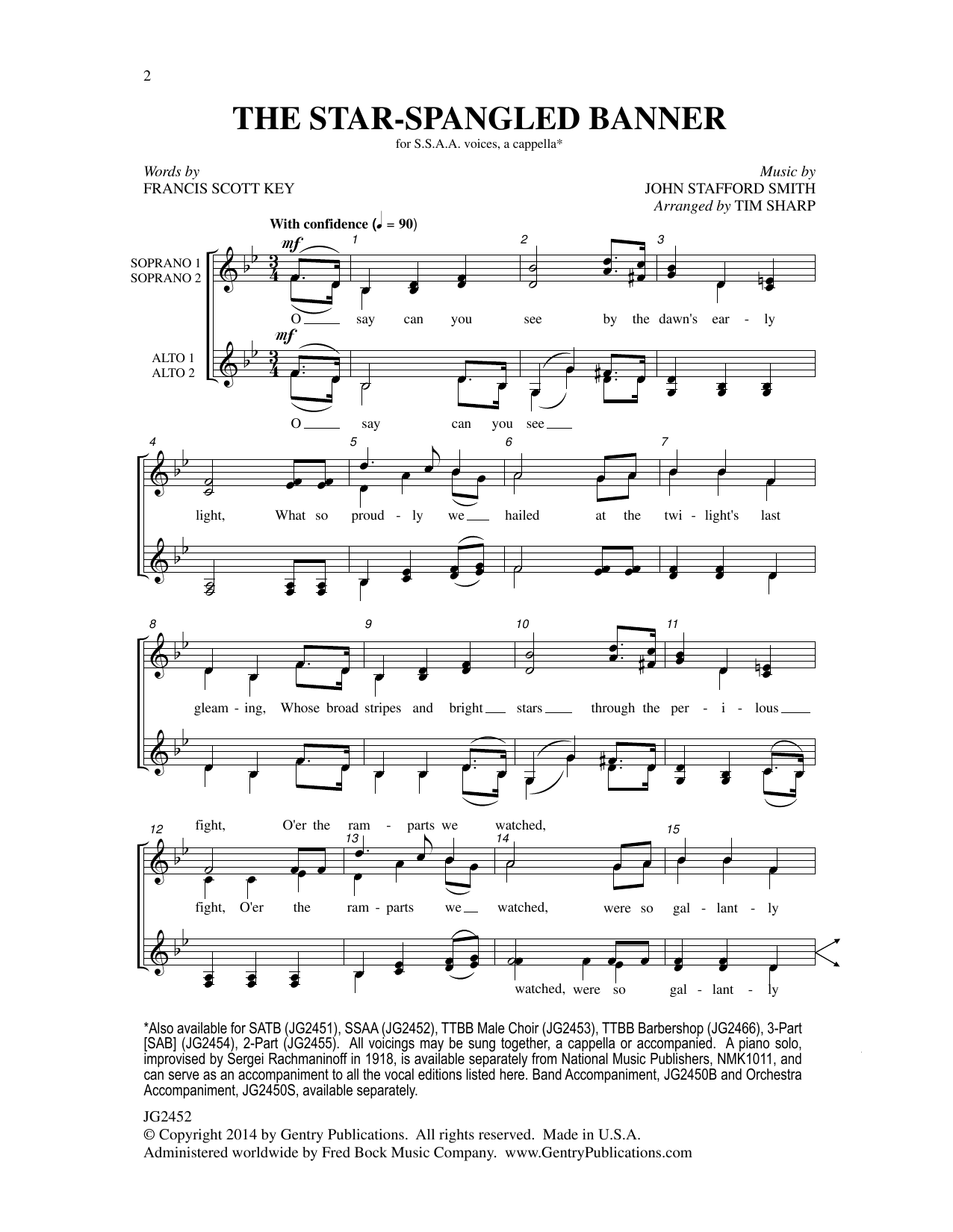 The Star-Spangled Banner (SSAA) Sheet Music