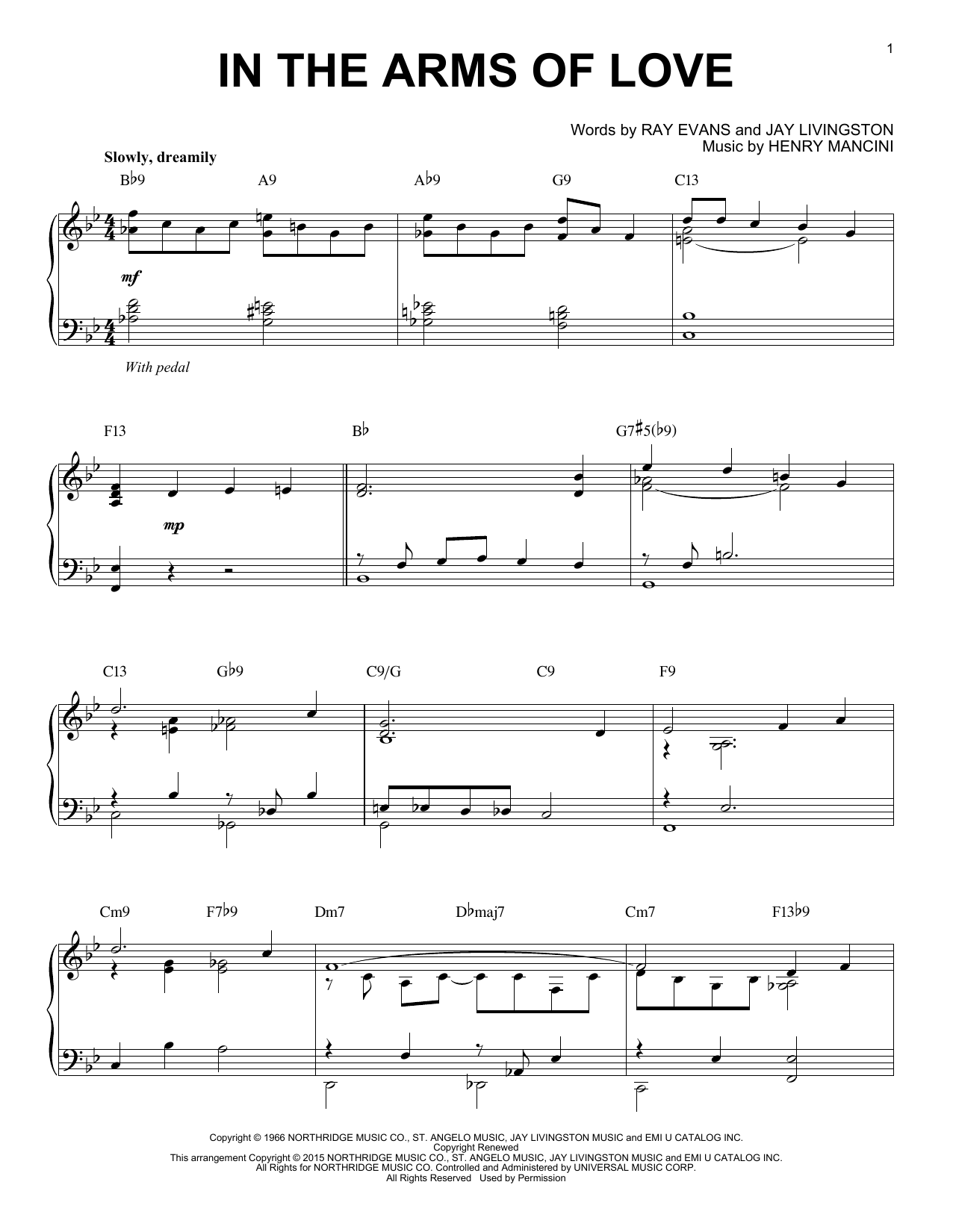 In The Arms Of Love Sheet Music