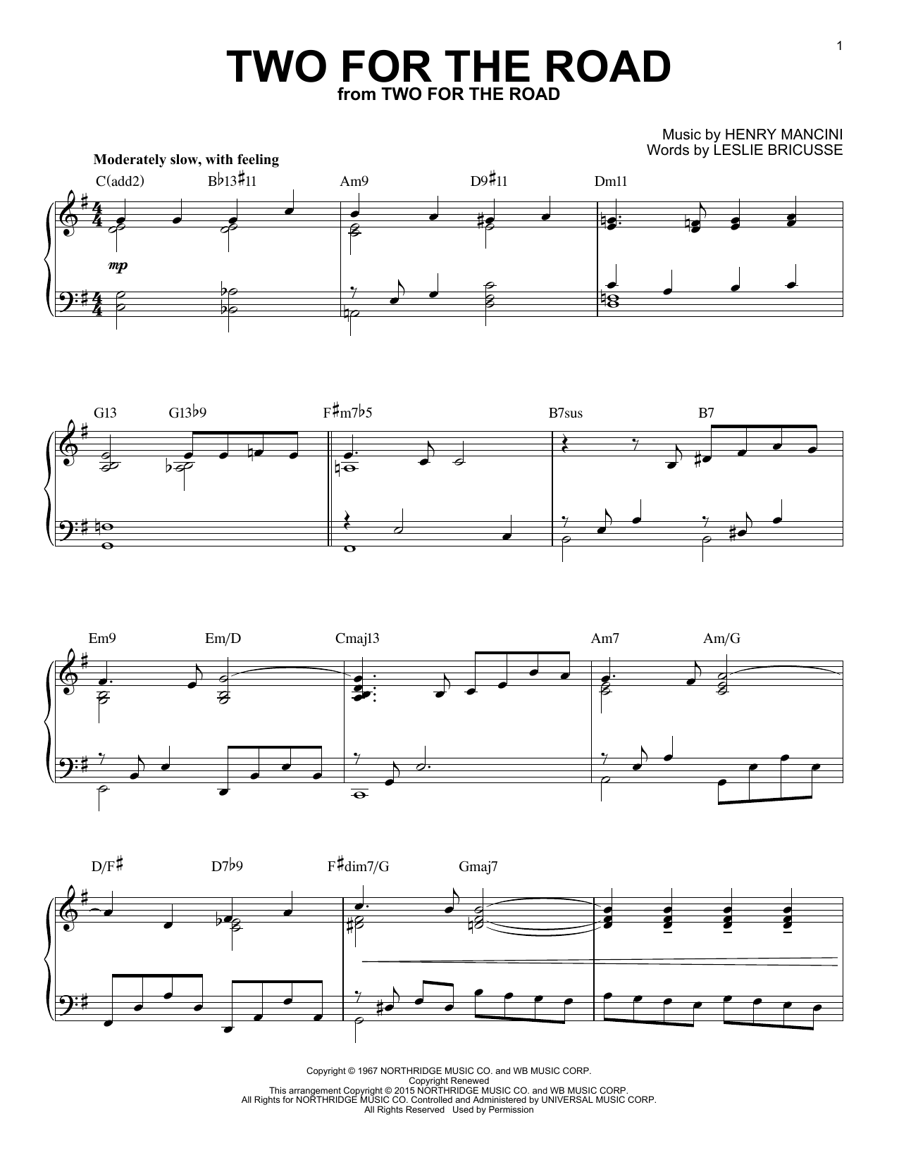 Two For The Road Sheet Music