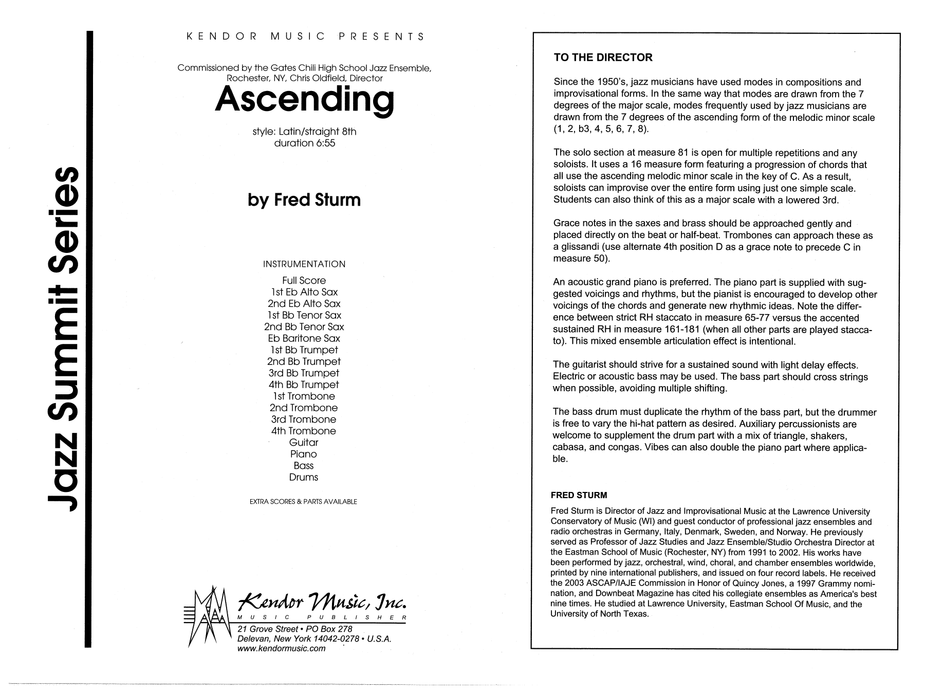 Ascending (COMPLETE) sheet music for jazz band by Fred Sturm. Score Image Preview.