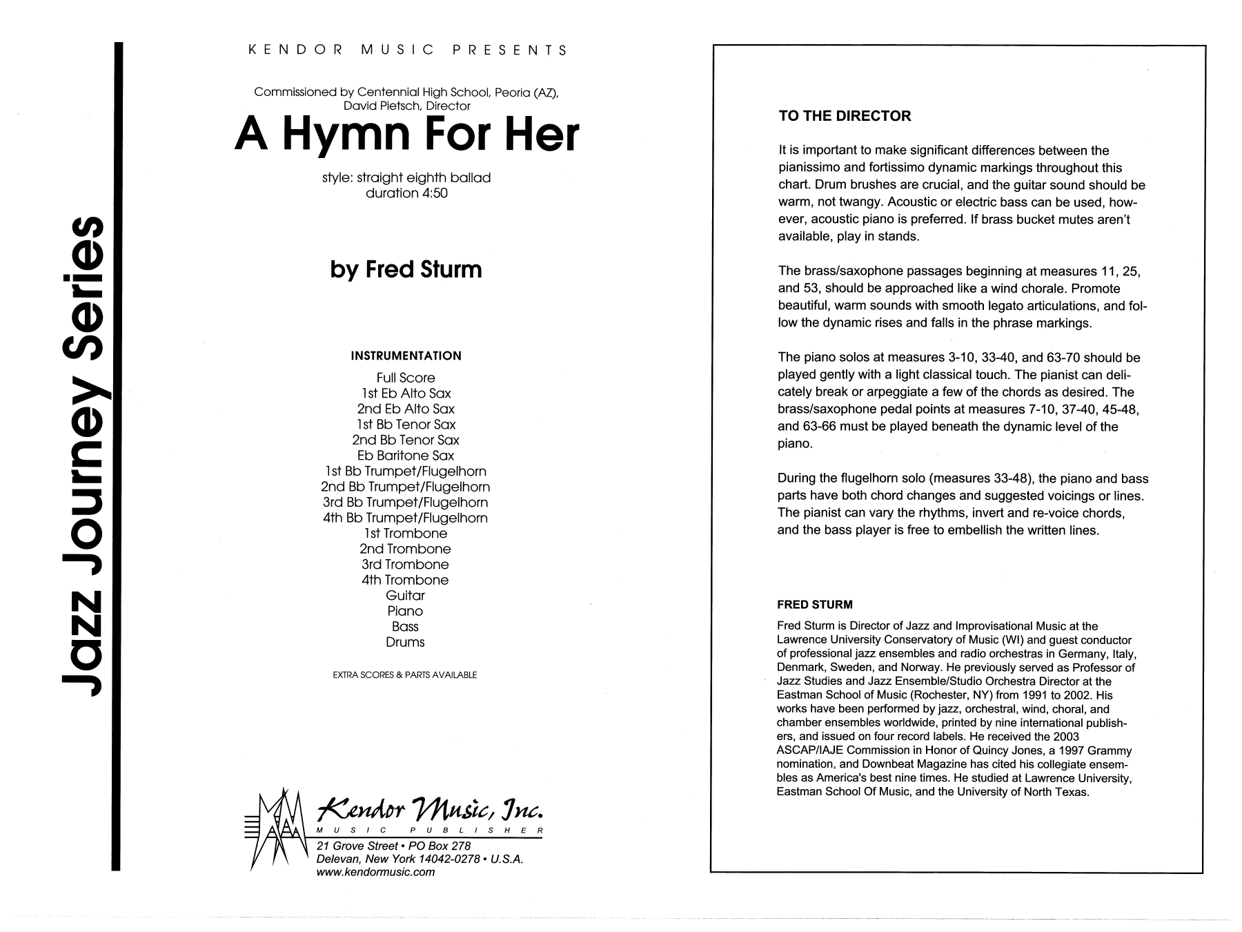 A Hymn For Her (COMPLETE) sheet music for jazz band by Fred Sturm. Score Image Preview.