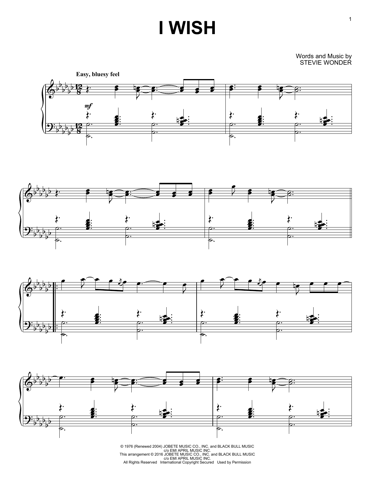 Partition piano I Wish de Stevie Wonder - Piano Solo
