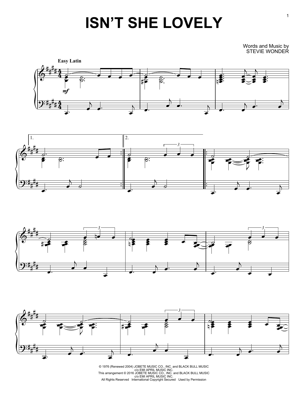 Partition piano Isn't She Lovely de Stevie Wonder - Piano Solo
