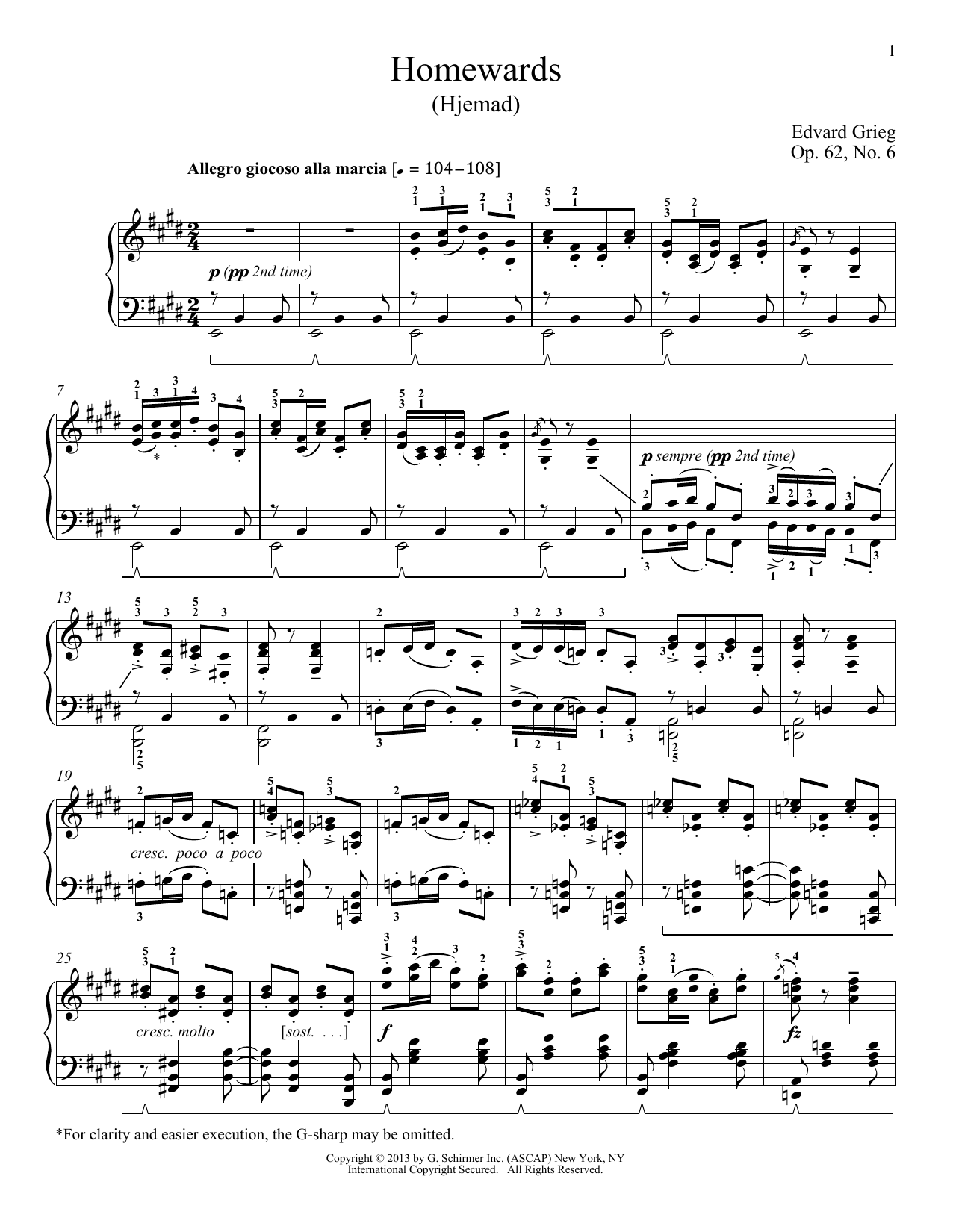 Partition piano Homewards (Hjemad), Op. 62, No. 6 de William Westney - Piano Solo
