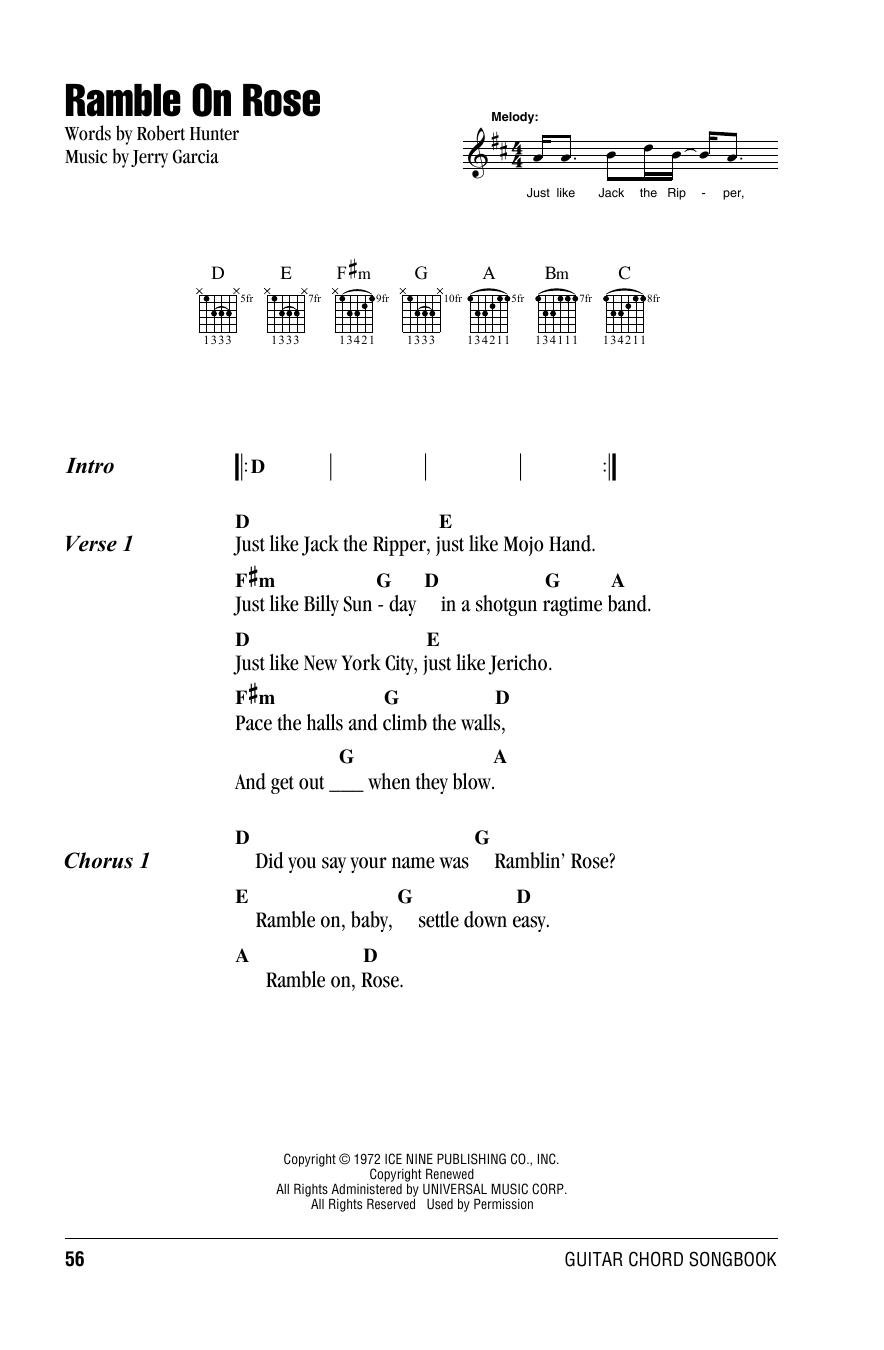 Ramble On Rose Sheet Music
