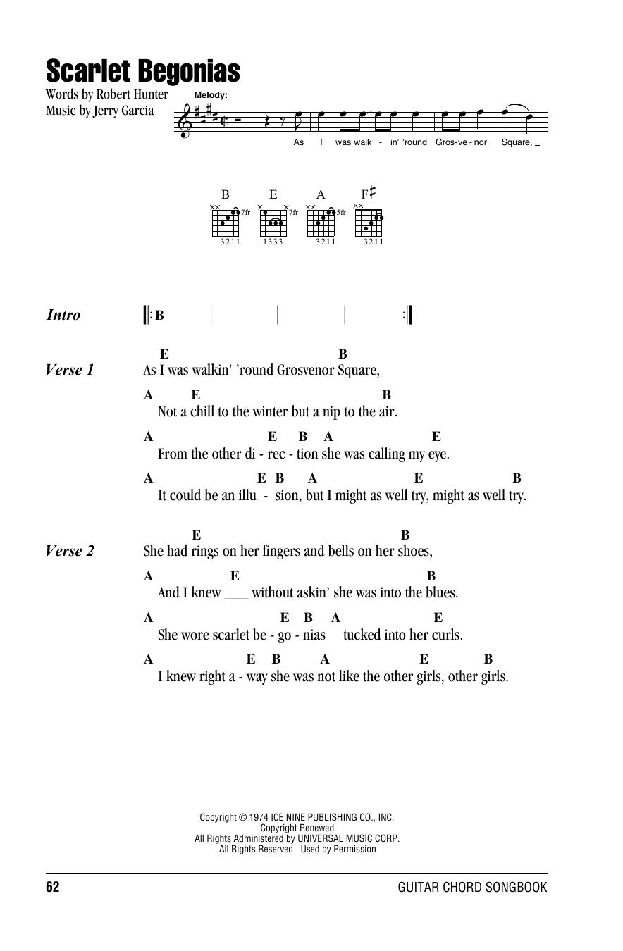 Scarlet Begonias Sheet Music