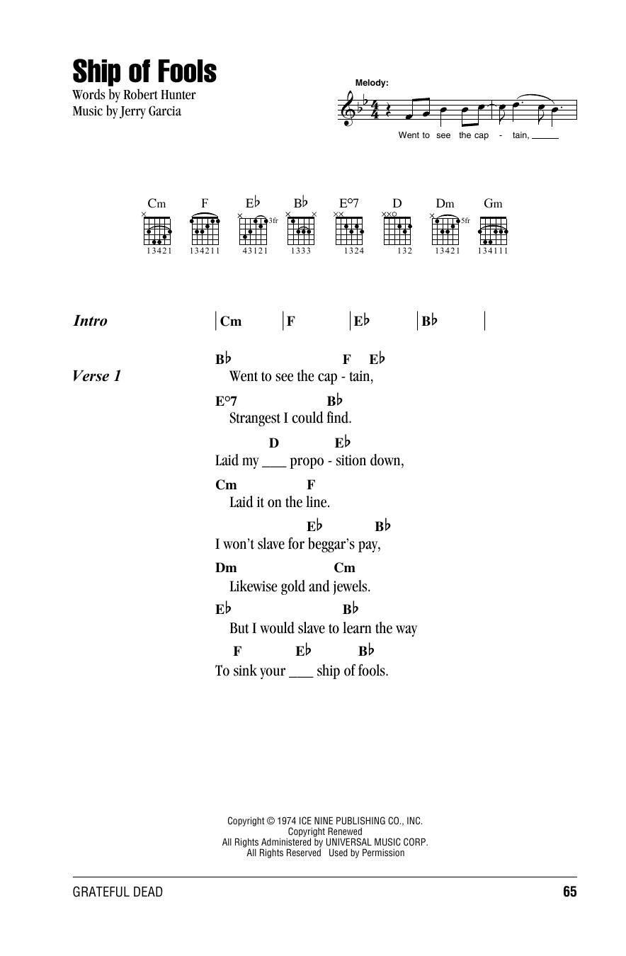 Ship Of Fools (Guitar Chords/Lyrics)