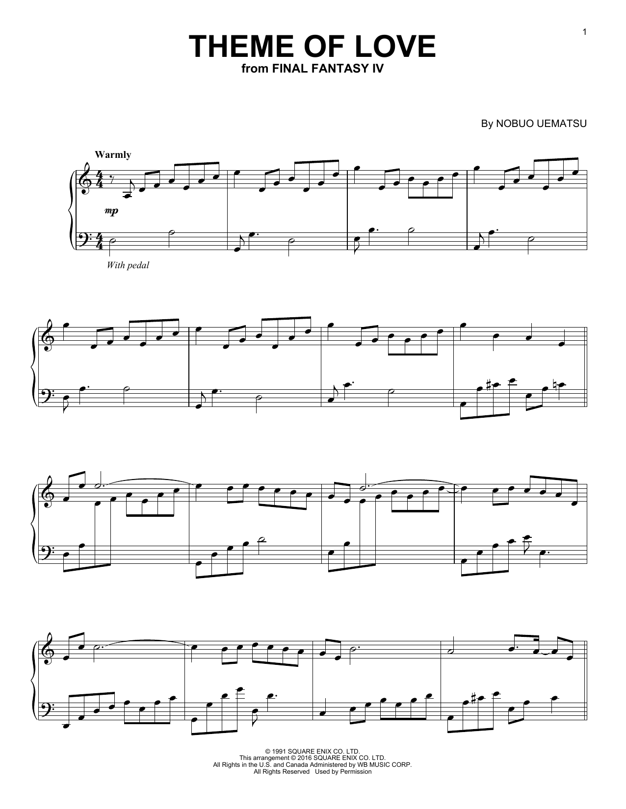 Theme Of Love Sheet Music