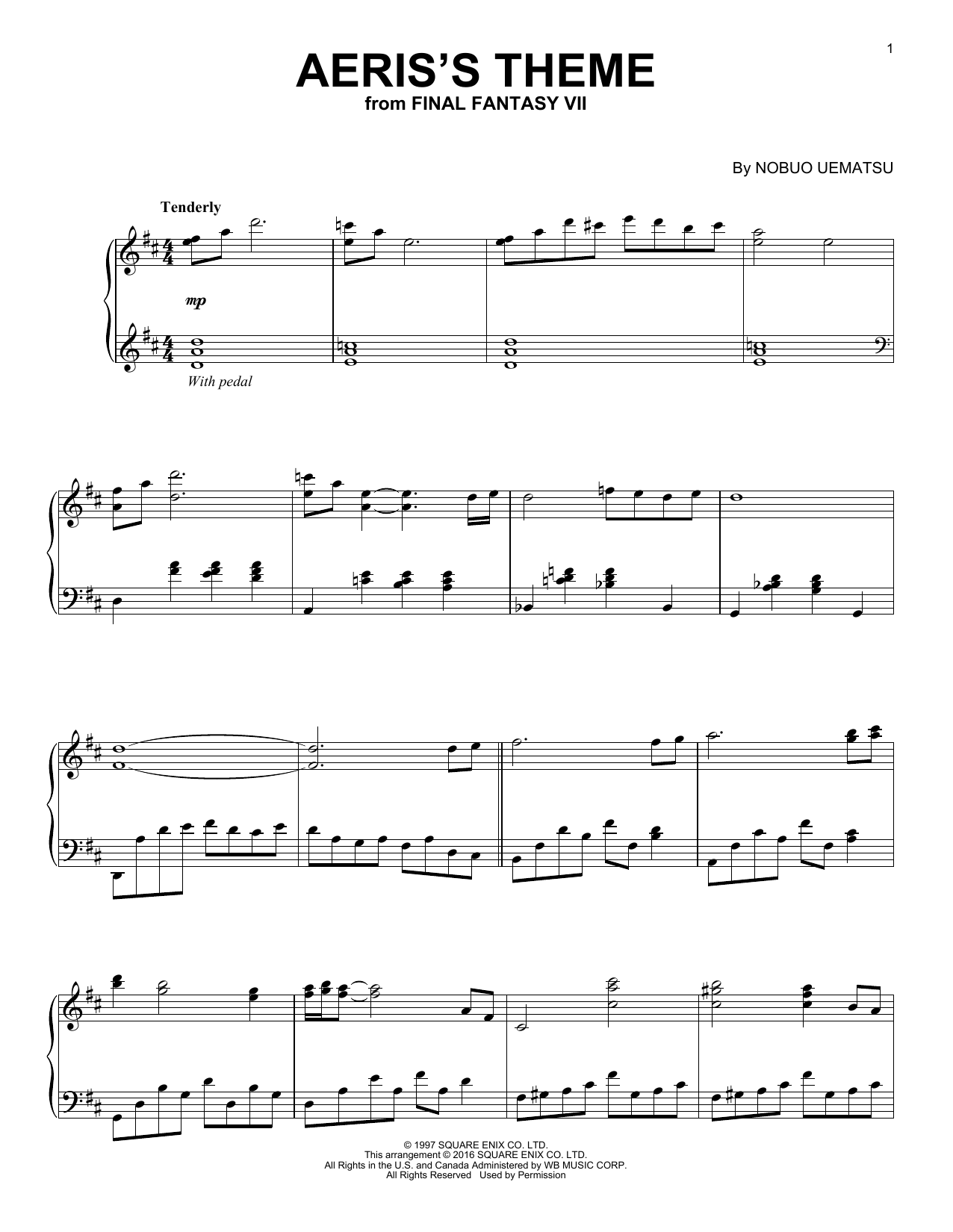 aeris theme piano sheet pdf