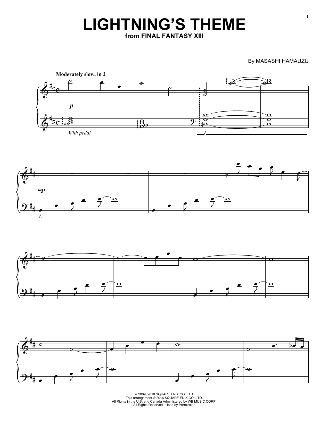 page one of Lightning's Theme (from Final Fantasy)ASALTTEXT
