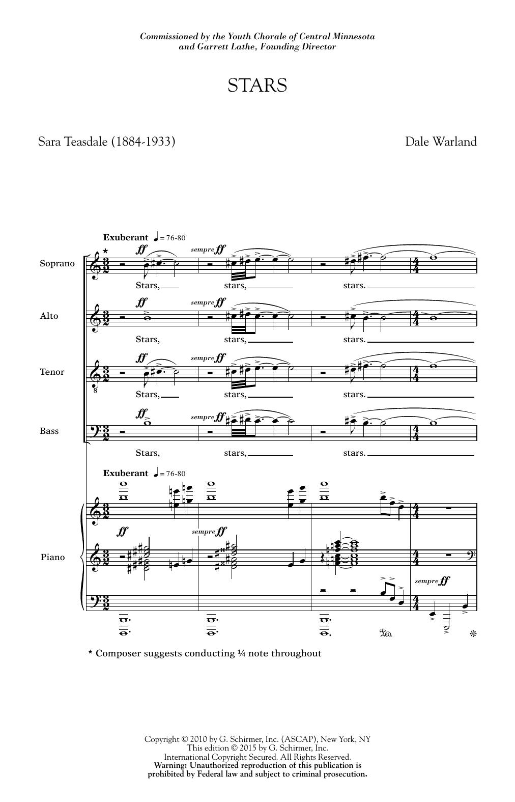 Partition chorale Stars de Dale Warland - SATB