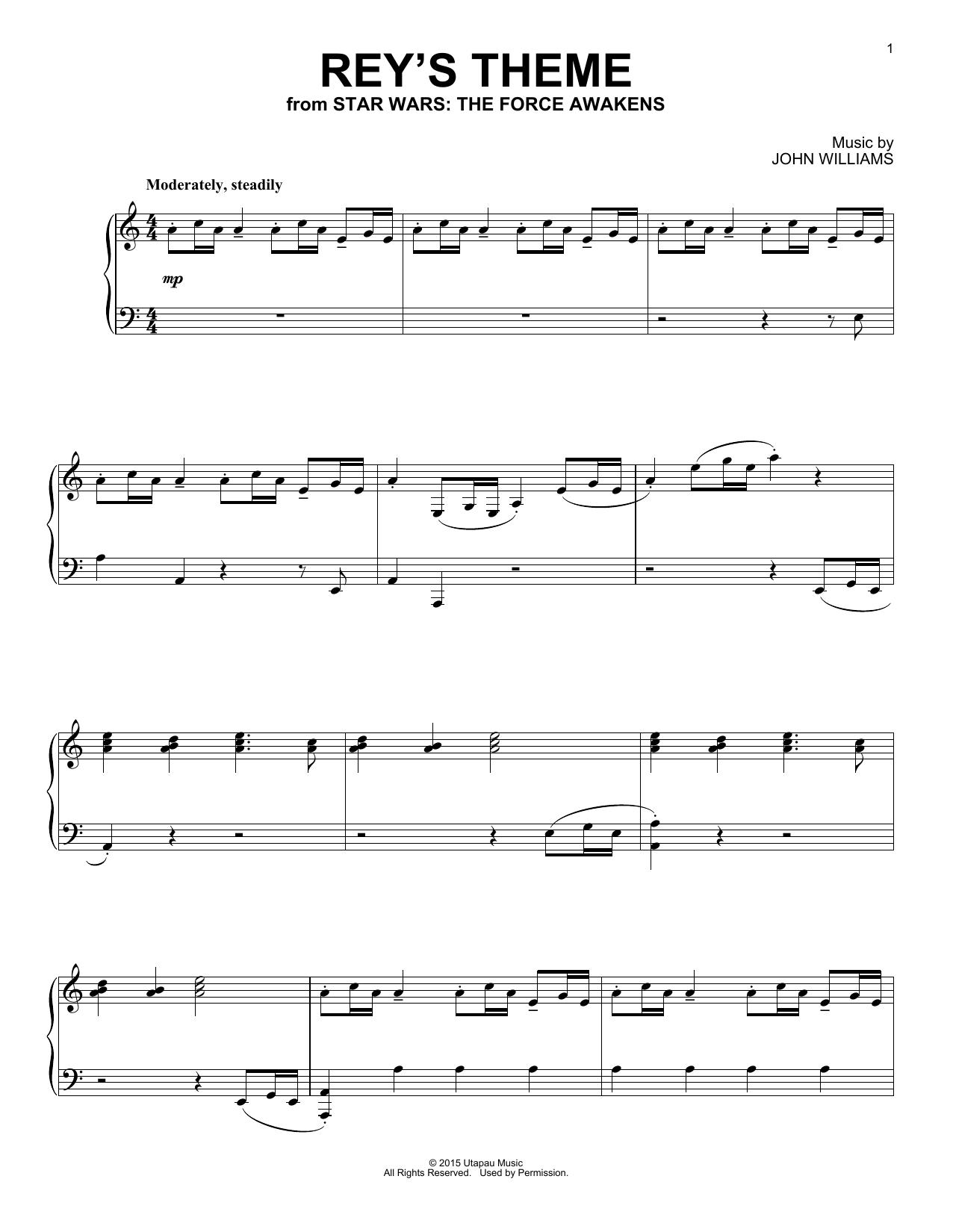 Partition piano Rey's Theme de John Williams - Piano Solo