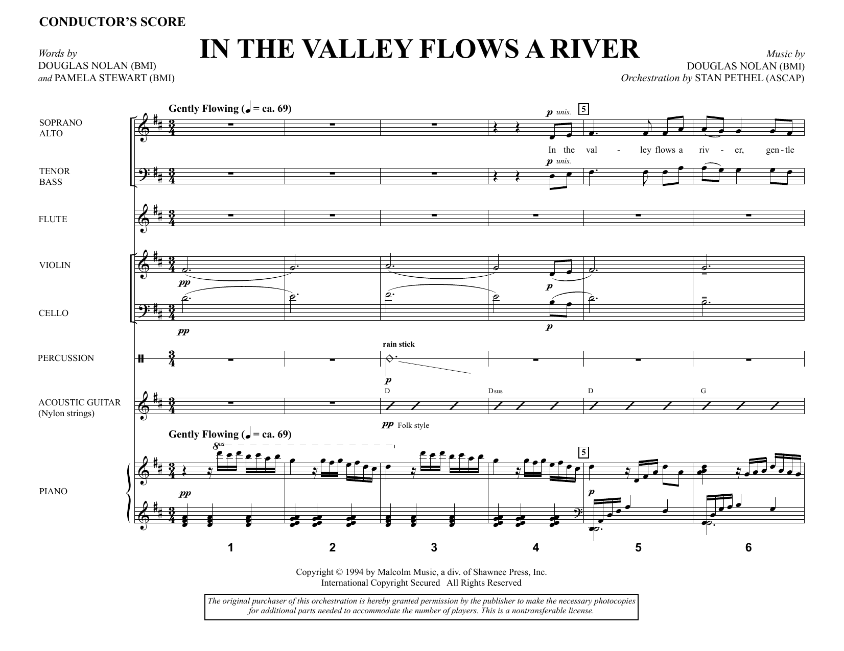 In the Valley Flows a River (COMPLETE) sheet music for orchestra/band by Douglas Nolan. Score Image Preview.