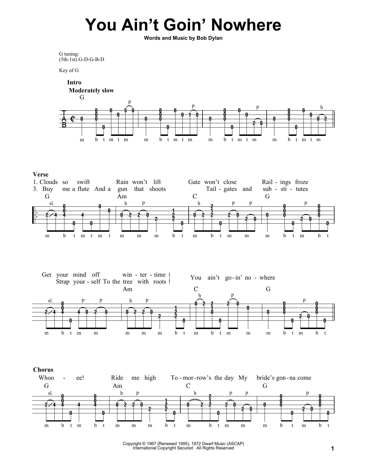 You Ain't Goin' Nowhere Sheet Music   Bob Dylan   Banjo Tab