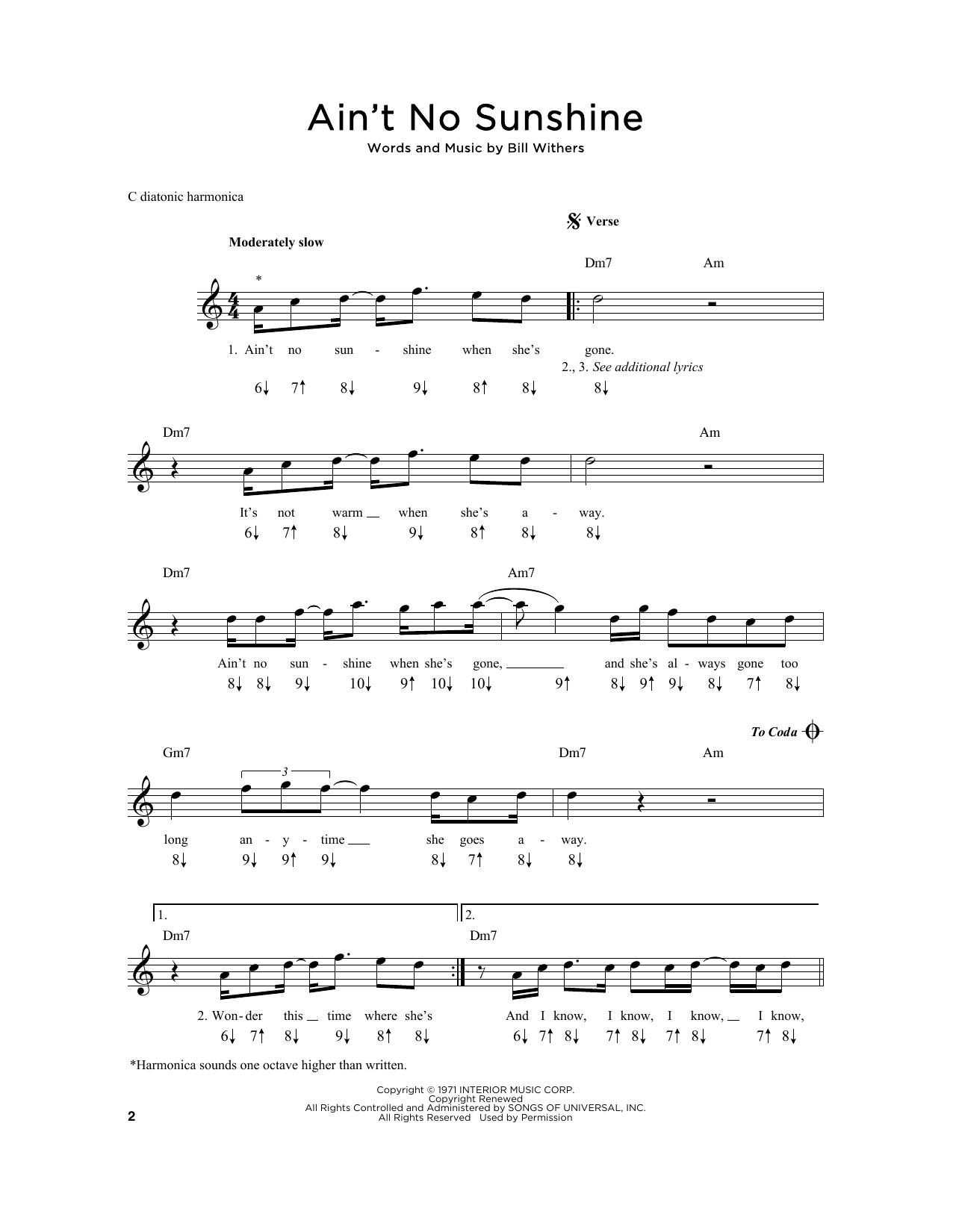 Ain T No Sunshine Sheet Music Bill Withers Harmonica Am em g am it's not warm when she's away. ain t no sunshine sheet music bill withers harmonica