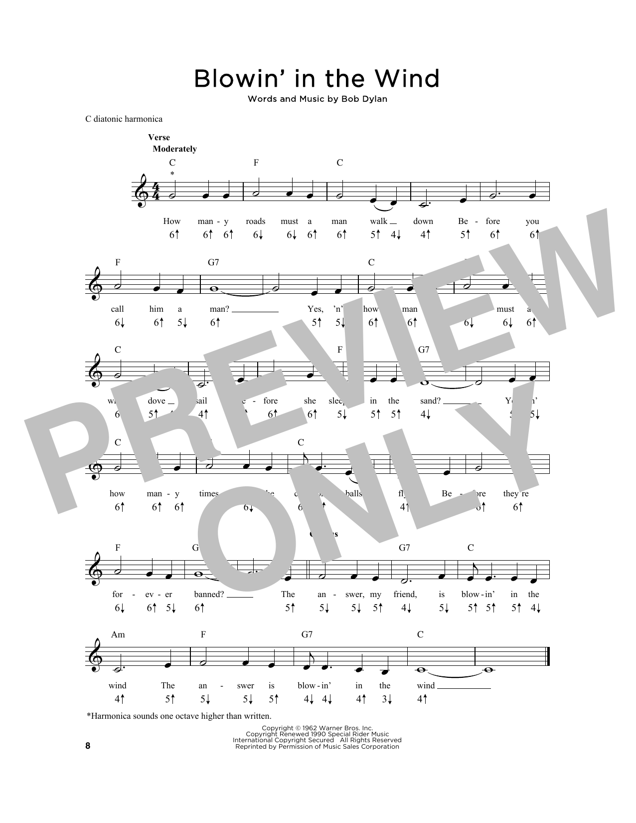 Blowin' In The Wind Sheet Music