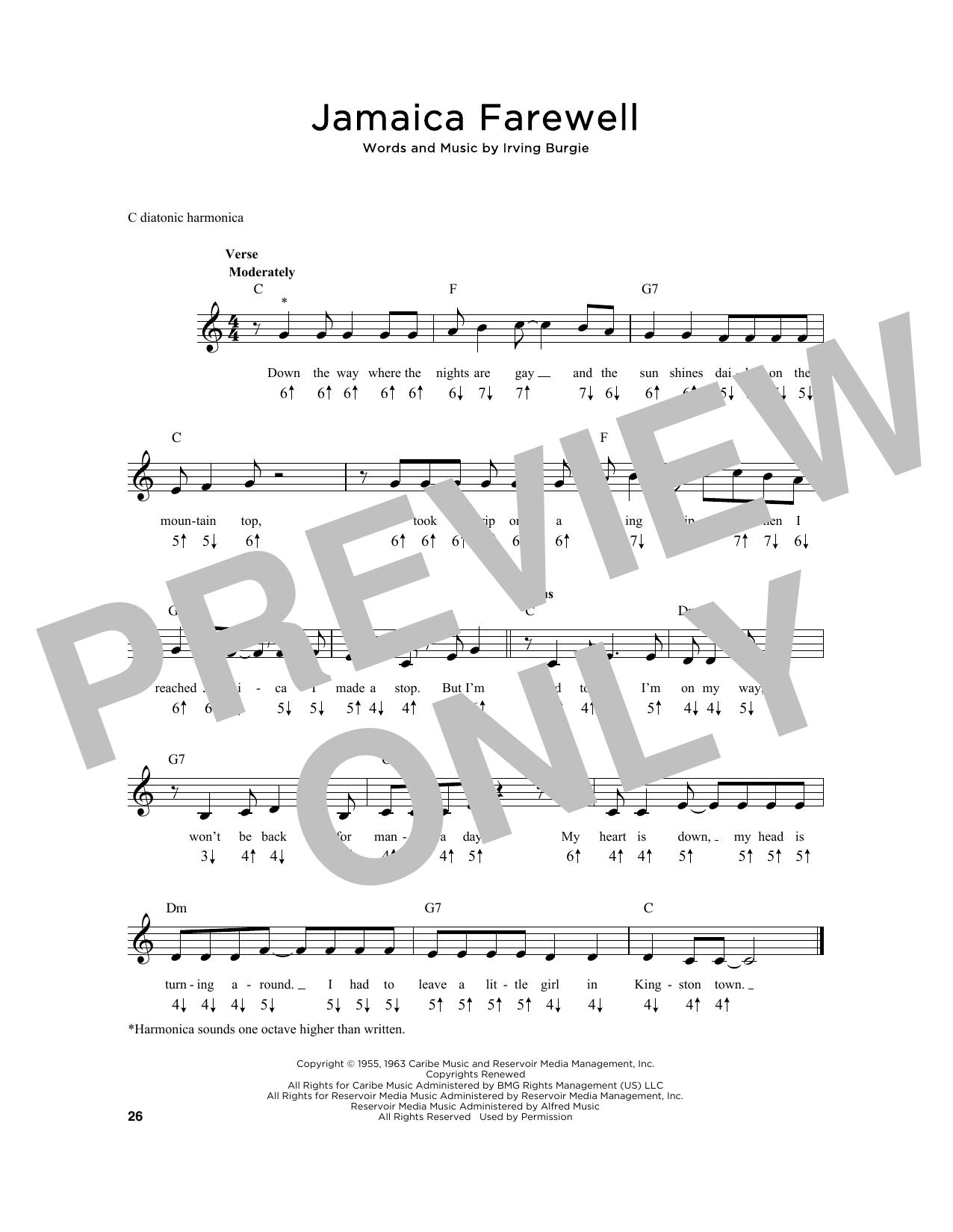 Jamaica Farewell Sheet Music