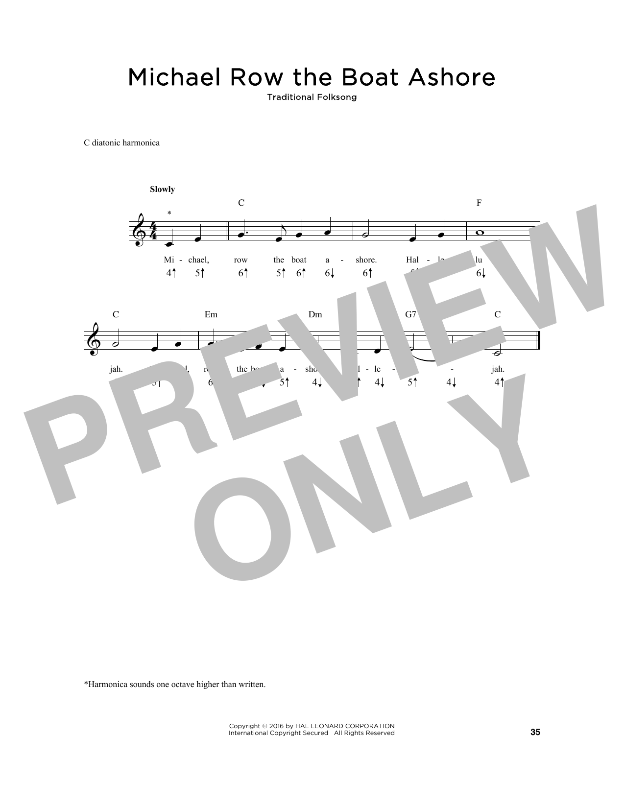Michael Row The Boat Ashore Sheet Music