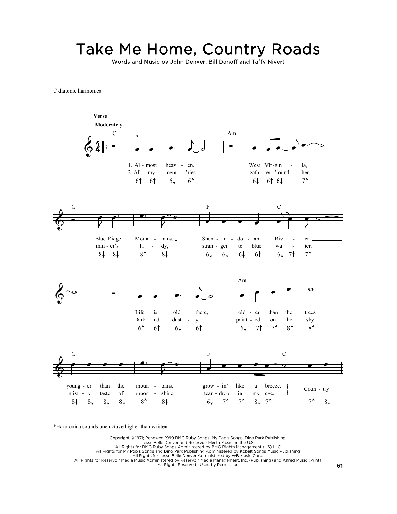 Take Me Home Country Roads sheet music by John Denver Harmonica