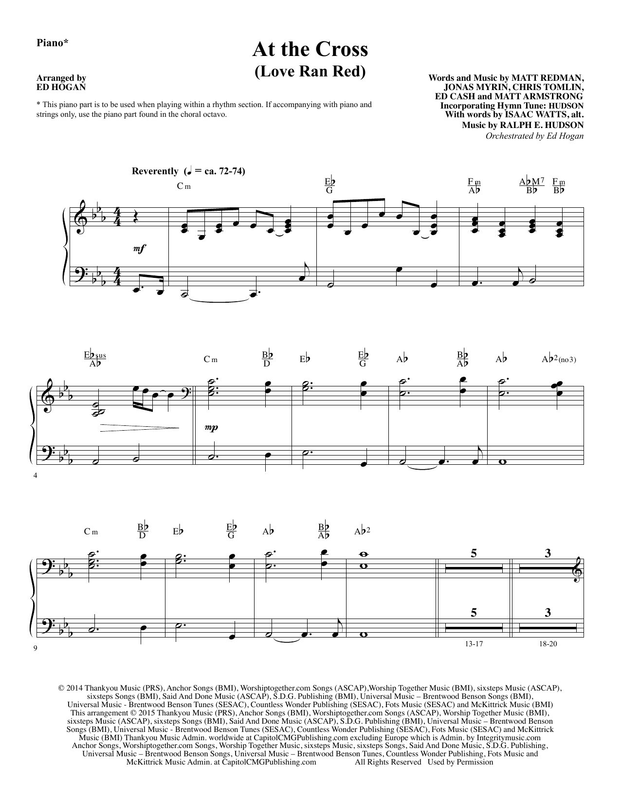At the Cross - Piano Sheet Music