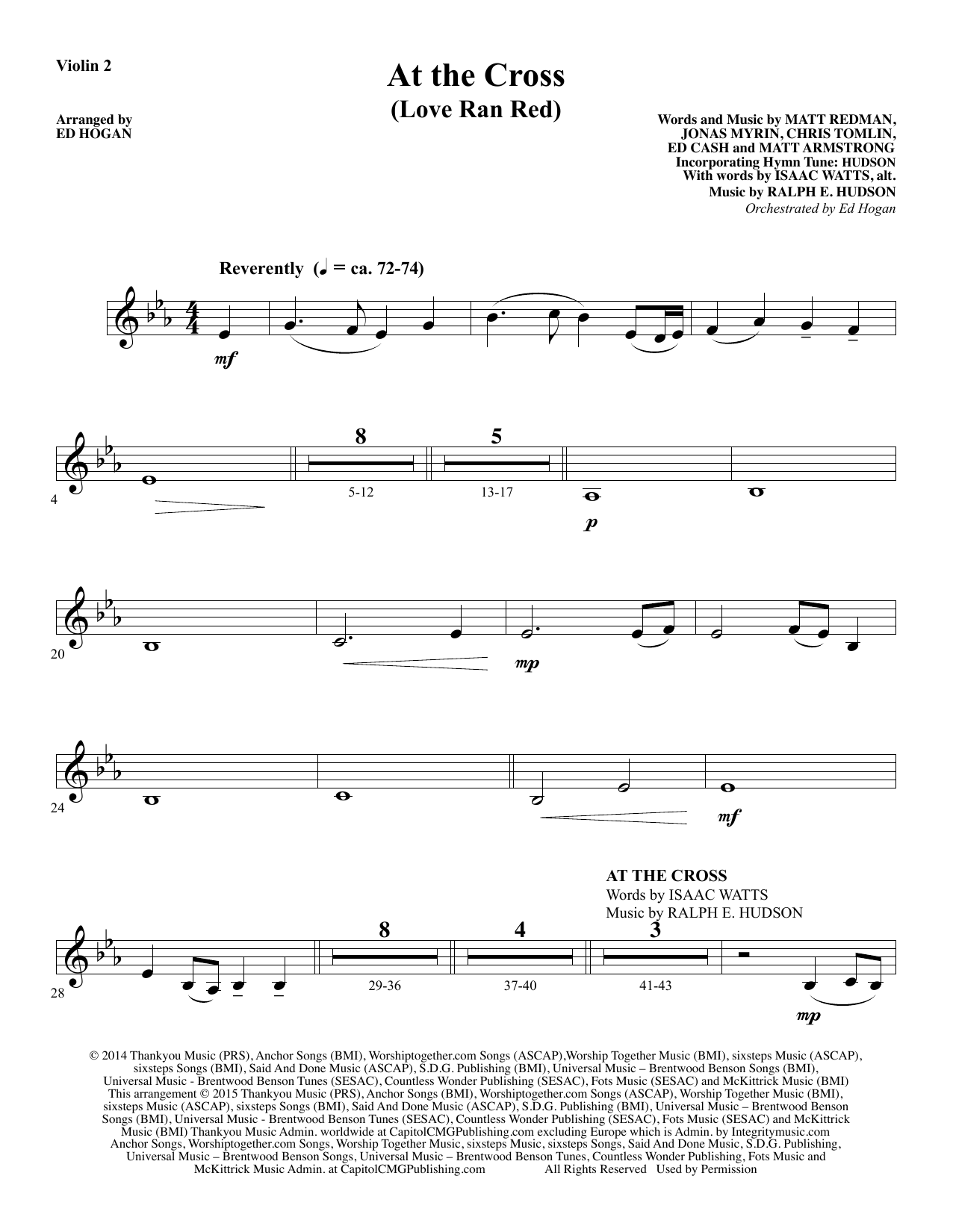 At the Cross - Violin 2 Sheet Music