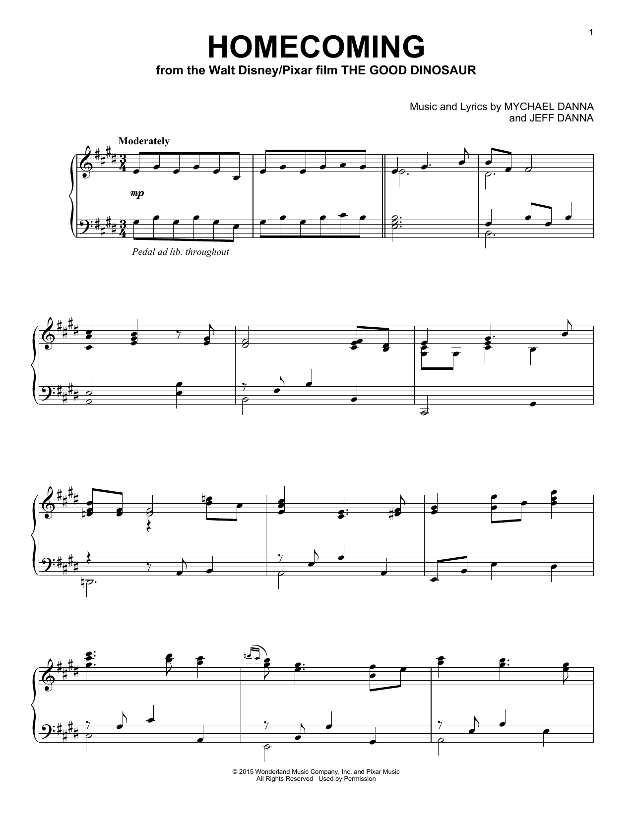 Homecoming Sheet Music