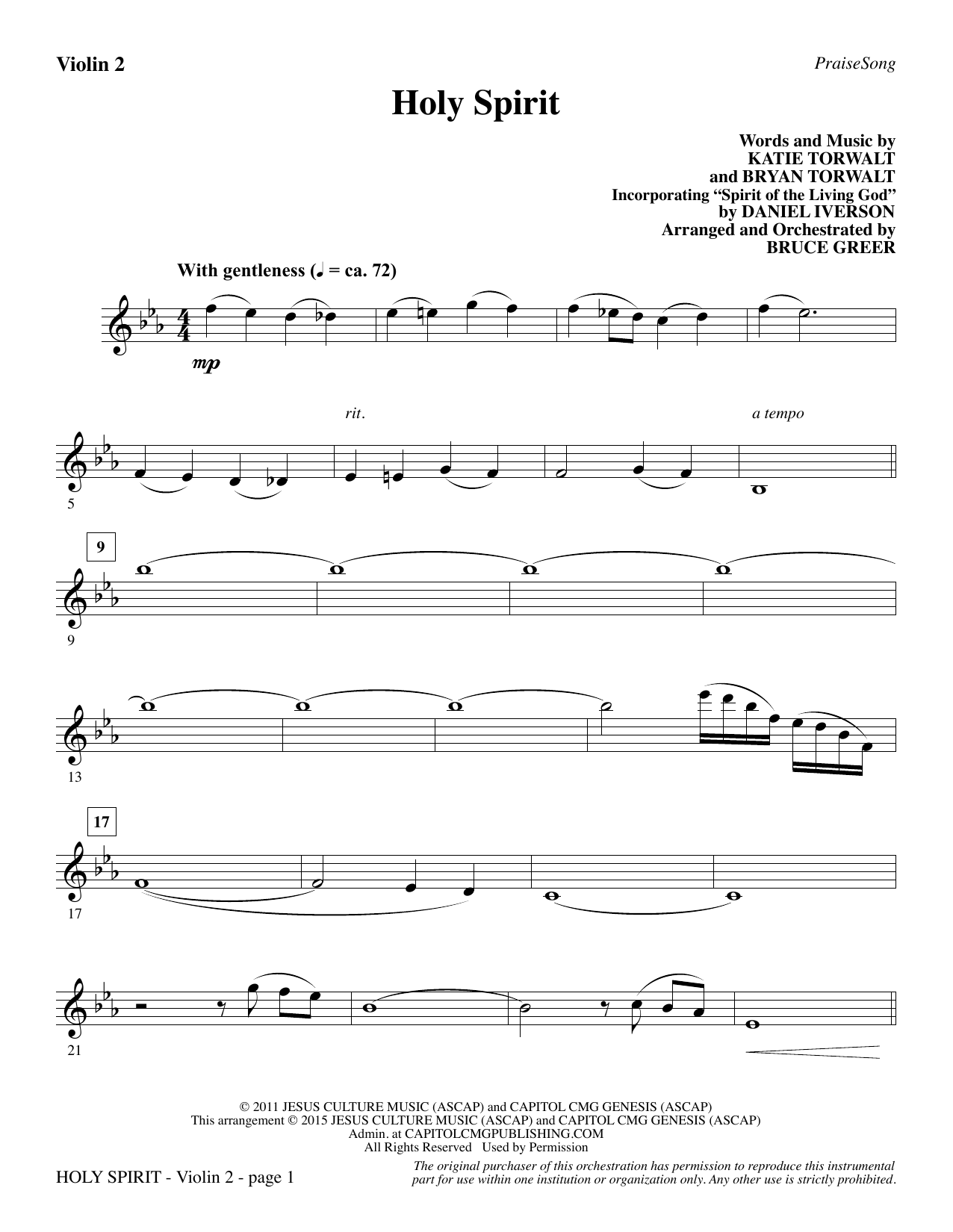 Holy Spirit - Violin 2 Sheet Music