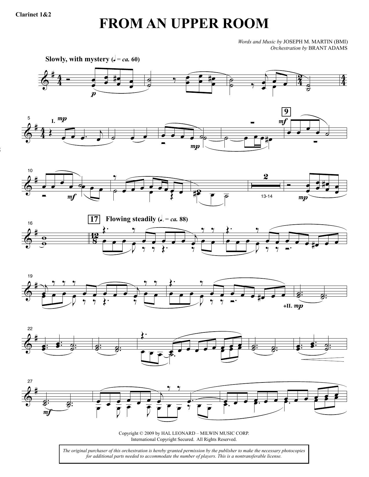 From An Upper Room (from Lenten Sketches) - Bb Clarinet 1 & 2 (Choir Instrumental Pak)