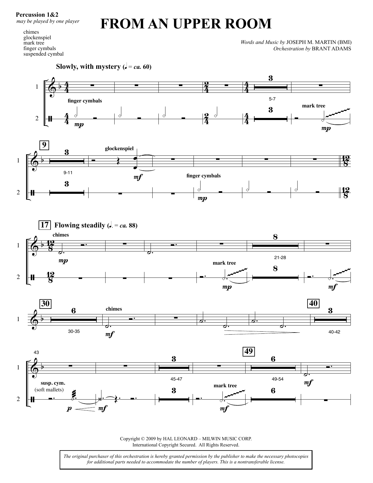 From An Upper Room (from Lenten Sketches) - Percussion (Choir Instrumental Pak)