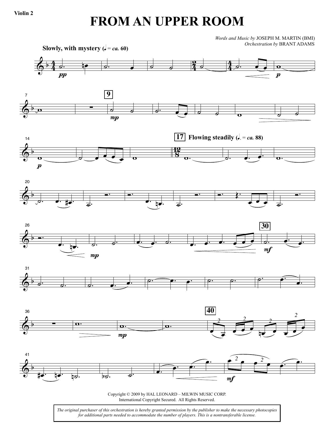 From An Upper Room (from Lenten Sketches) - Violin 2 (Choir Instrumental Pak)