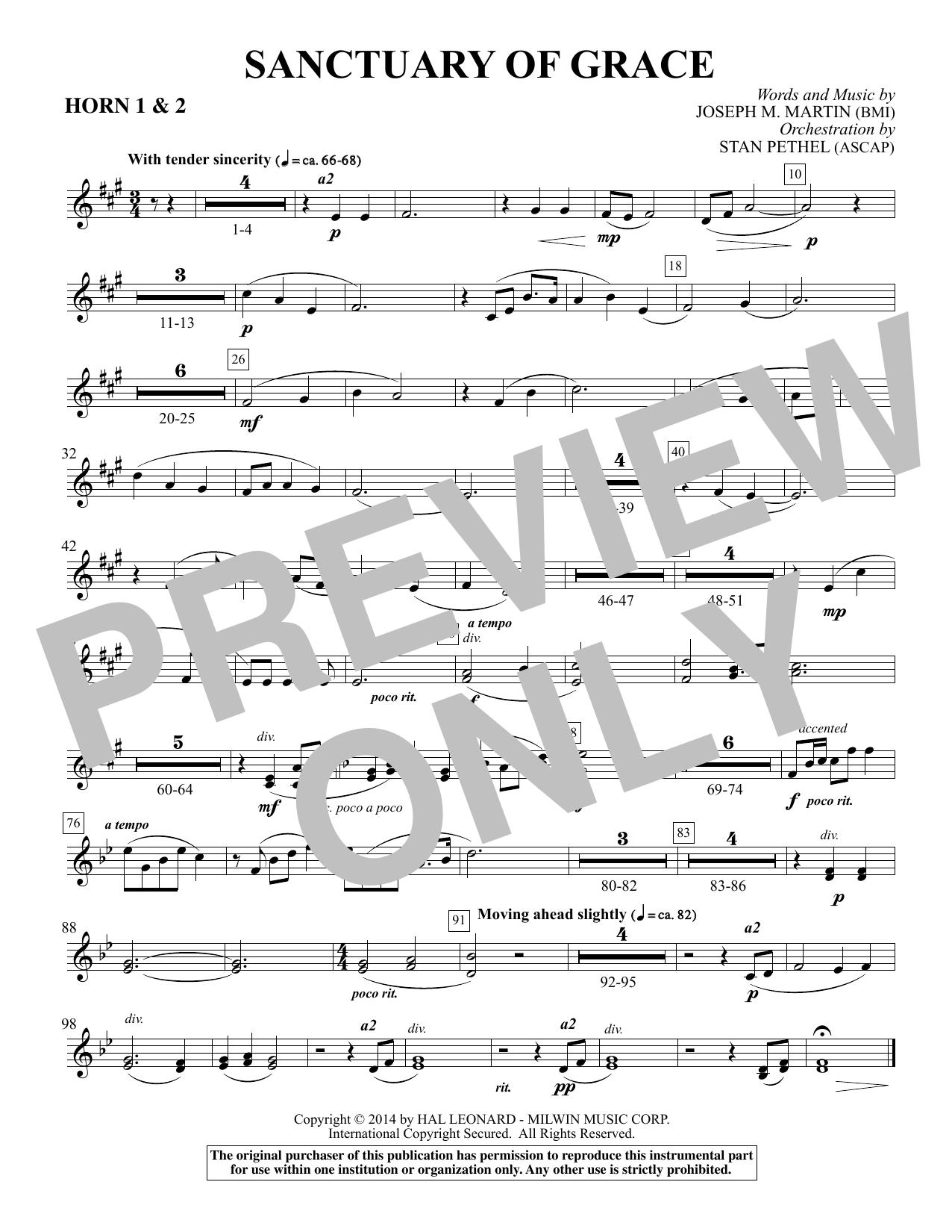 Sanctuary Of Grace (from Sanctuary) - F Horn 1,2 (Choir Instrumental Pak)