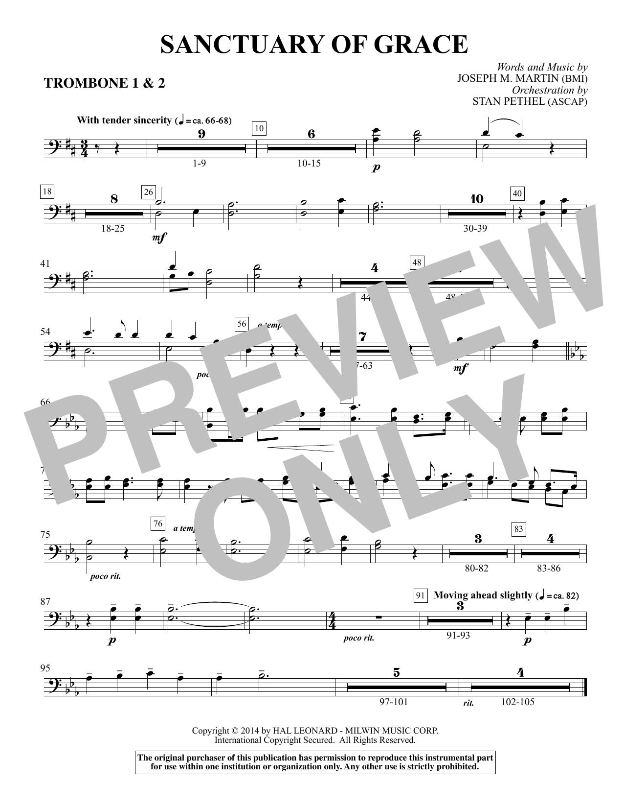 Sanctuary Of Grace (from Sanctuary) - Trombone 1 & 2 (Choir Instrumental Pak)