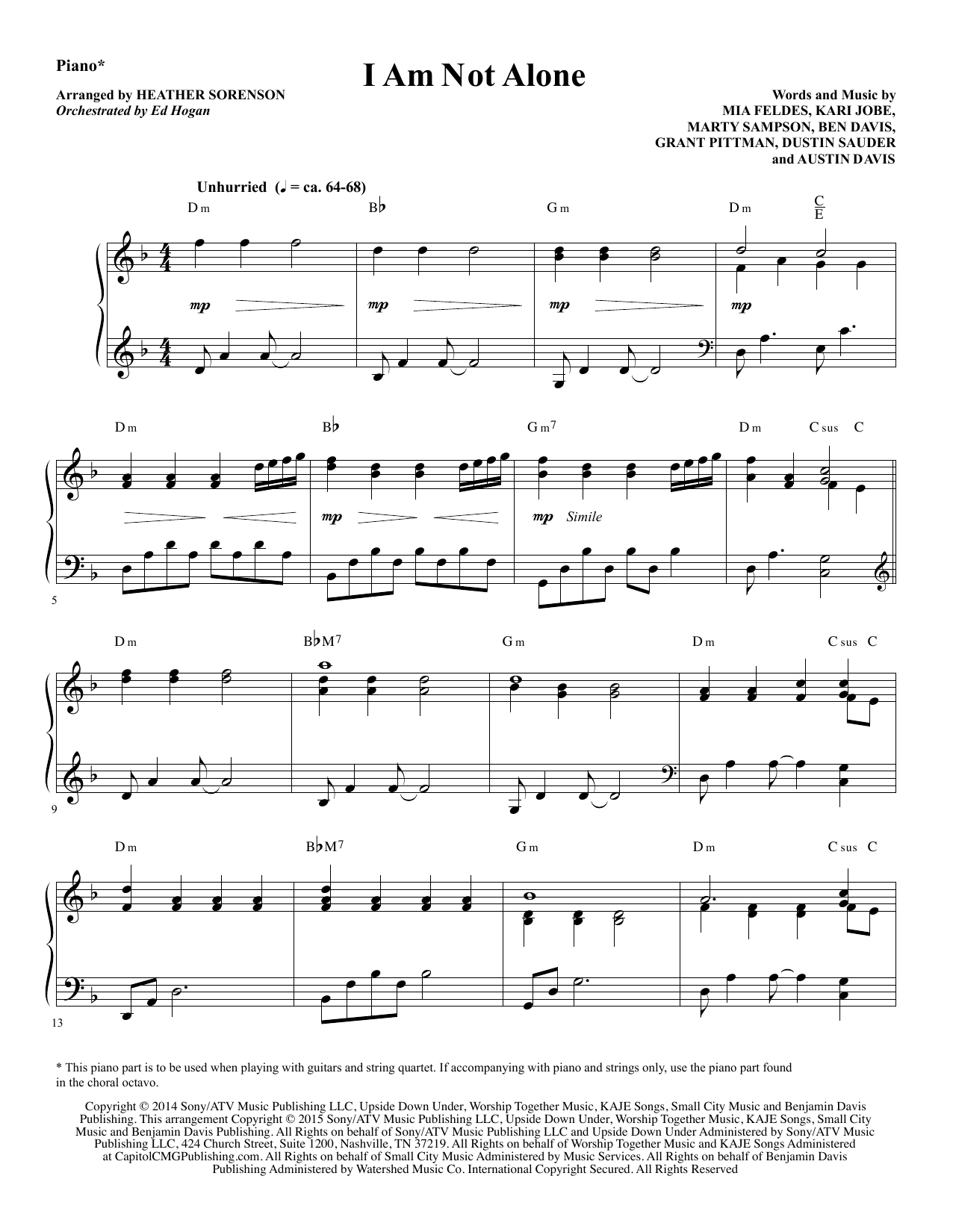 I Am Not Alone - Piano Sheet Music