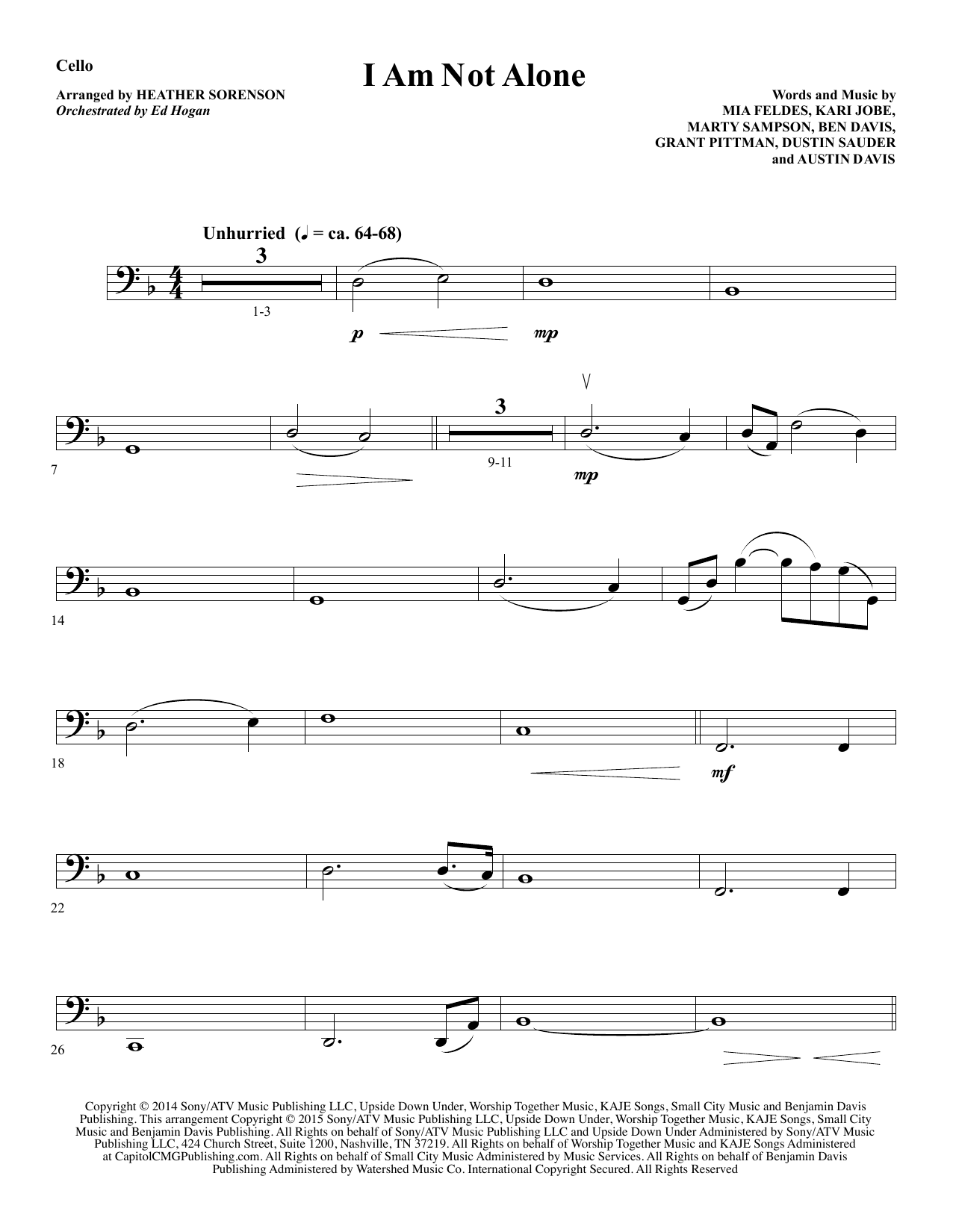 I Am Not Alone - Cello Sheet Music