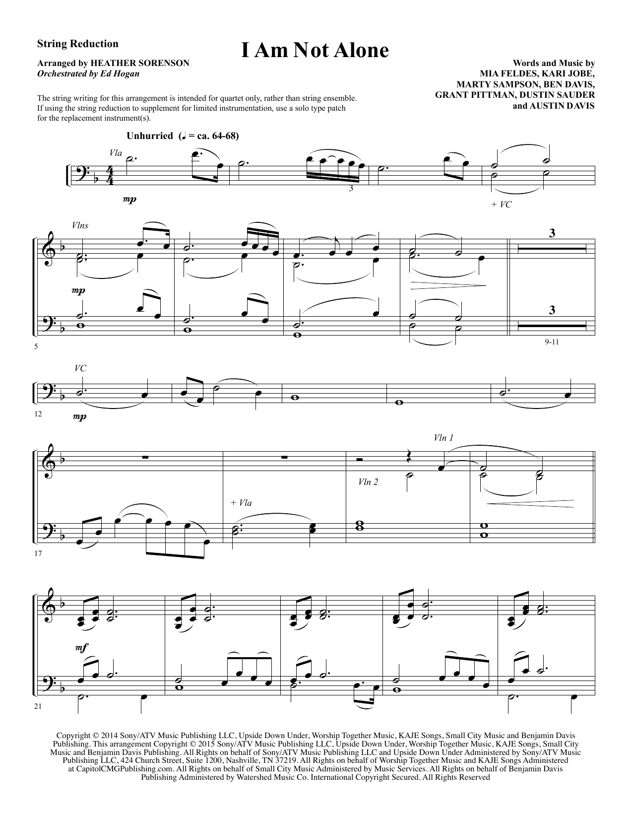 I Am Not Alone - Keyboard String Reduction Sheet Music