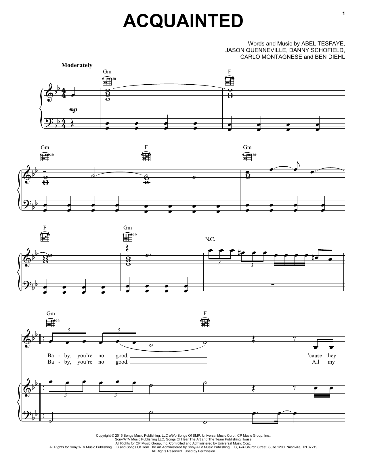Acquainted Sheet Music