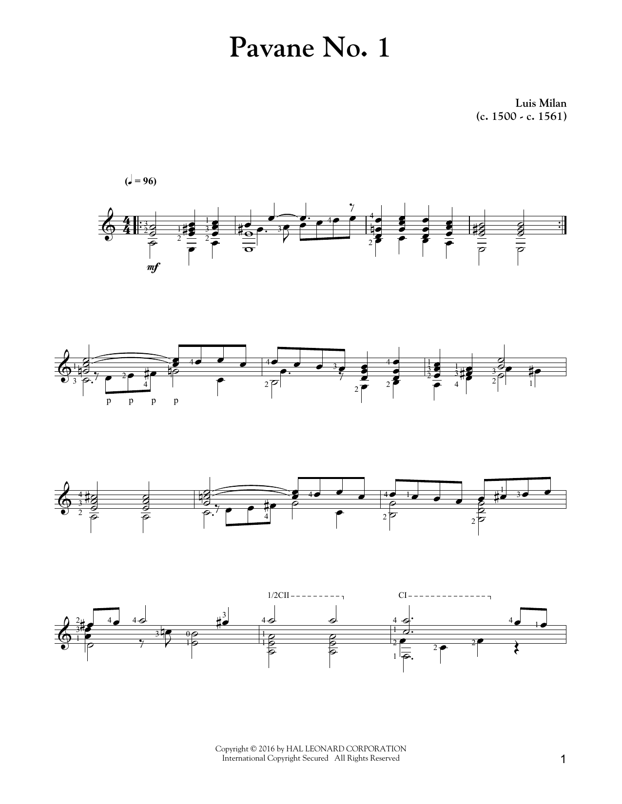 Pavane No. 1 Sheet Music