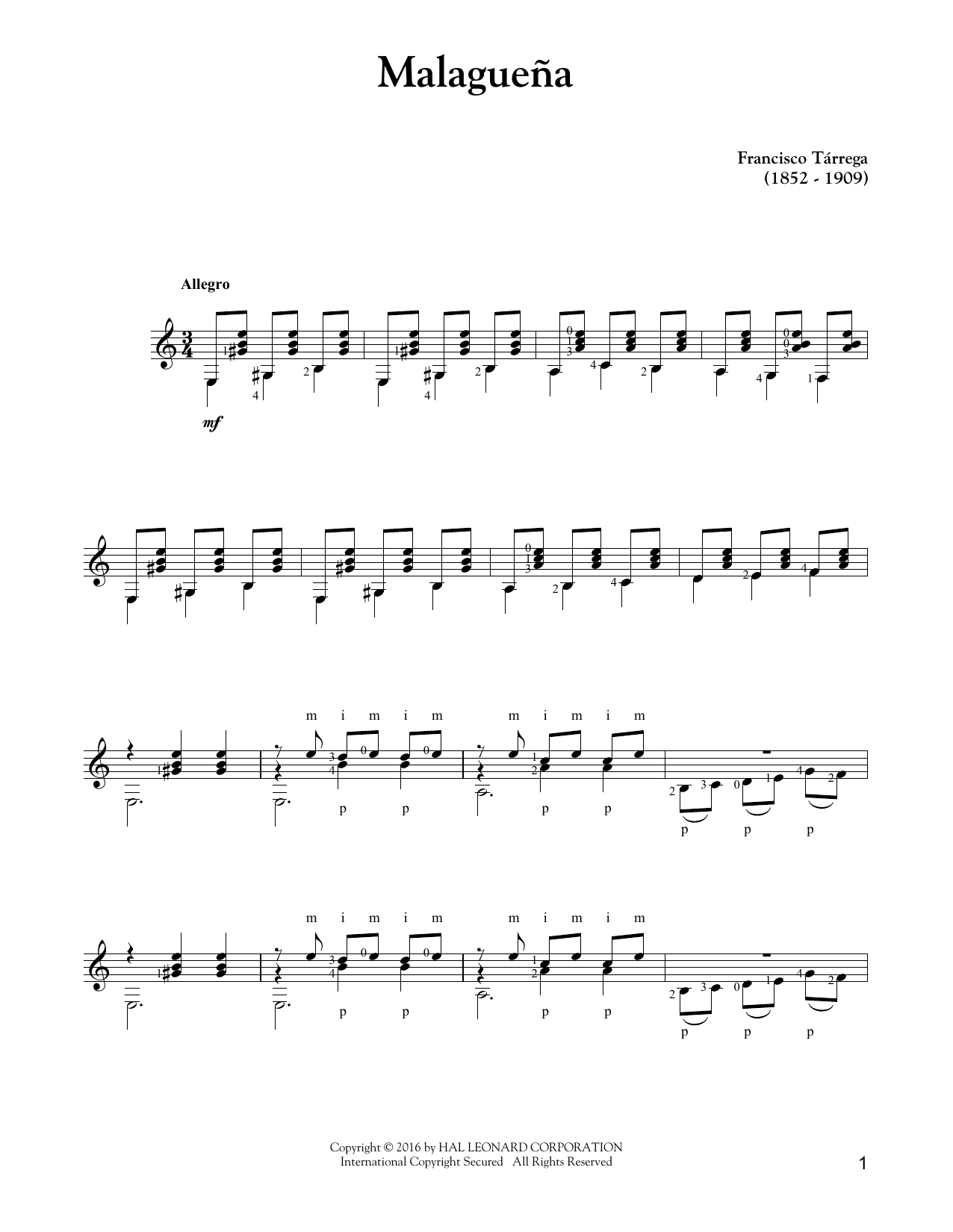 Malagueña Sheet Music