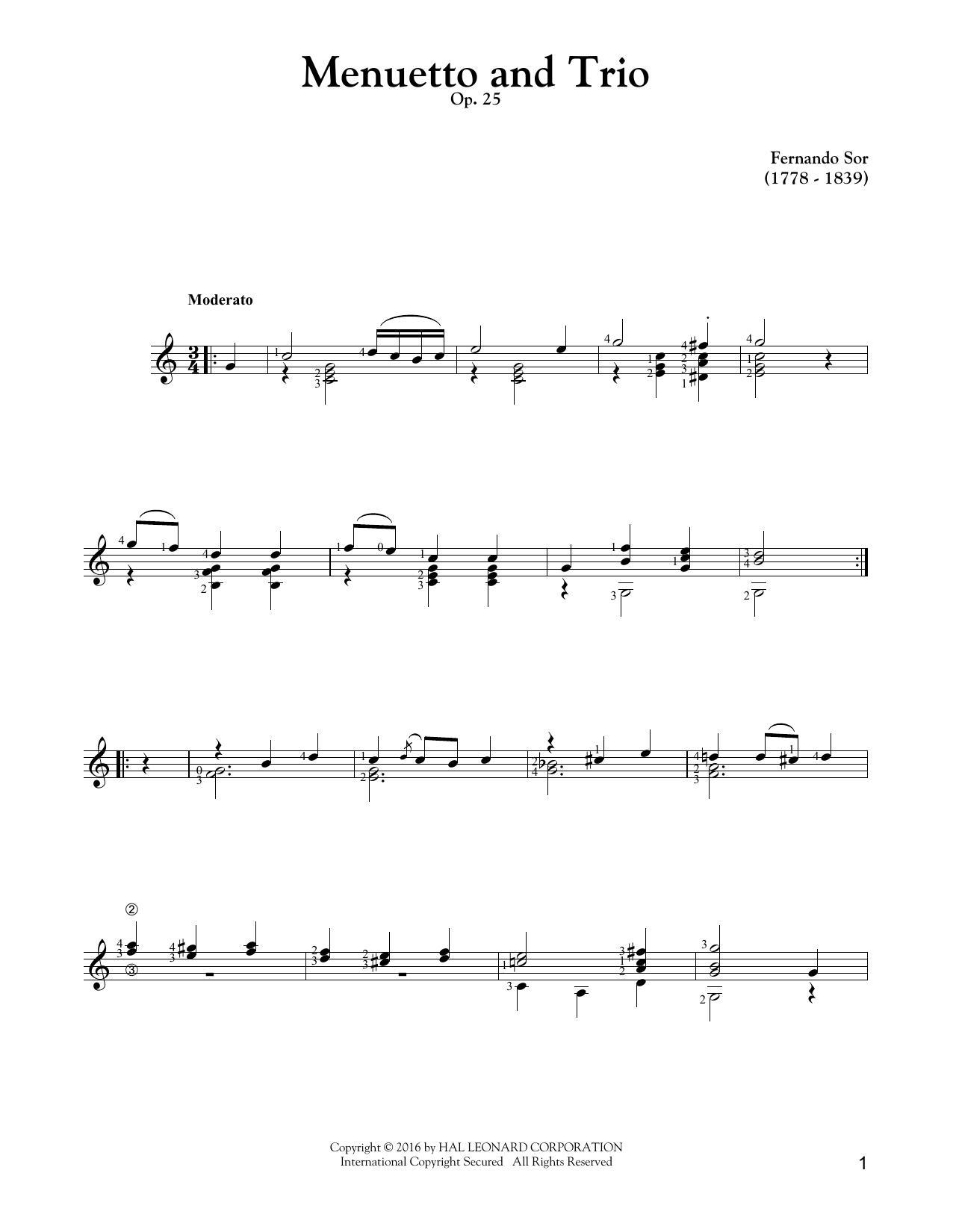 Menuetto (Solo Guitar Tab)