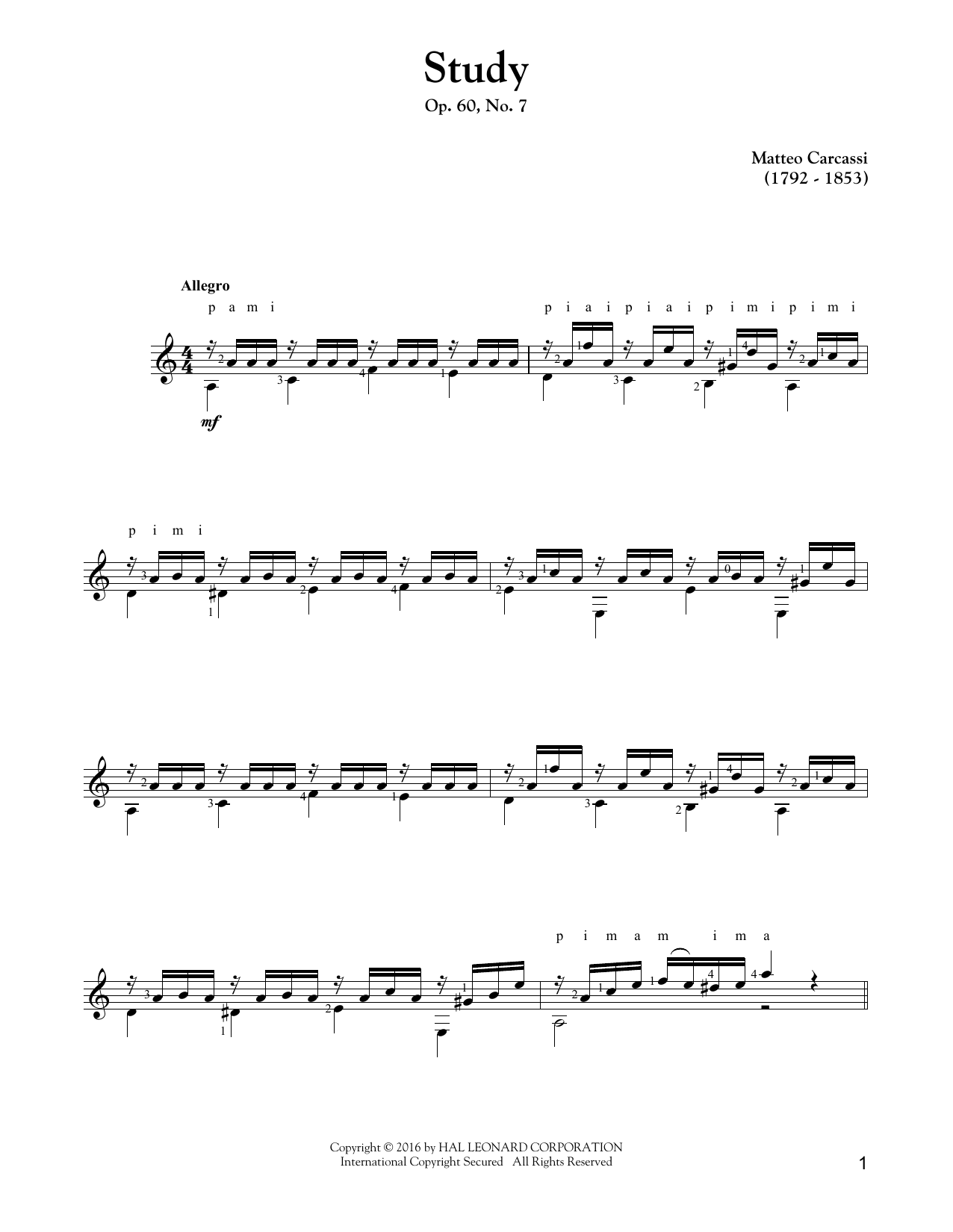 Tablature guitare Study, Op. 60, No. 7 de Matteo Carcassi - Tablature Guitare
