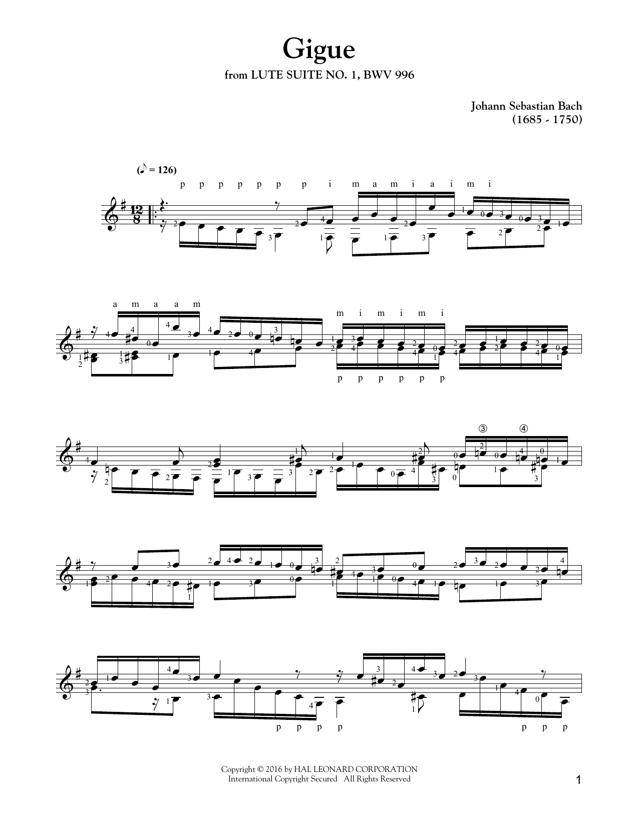 Suite In E Minor BWV 996 (Solo Guitar Tab)